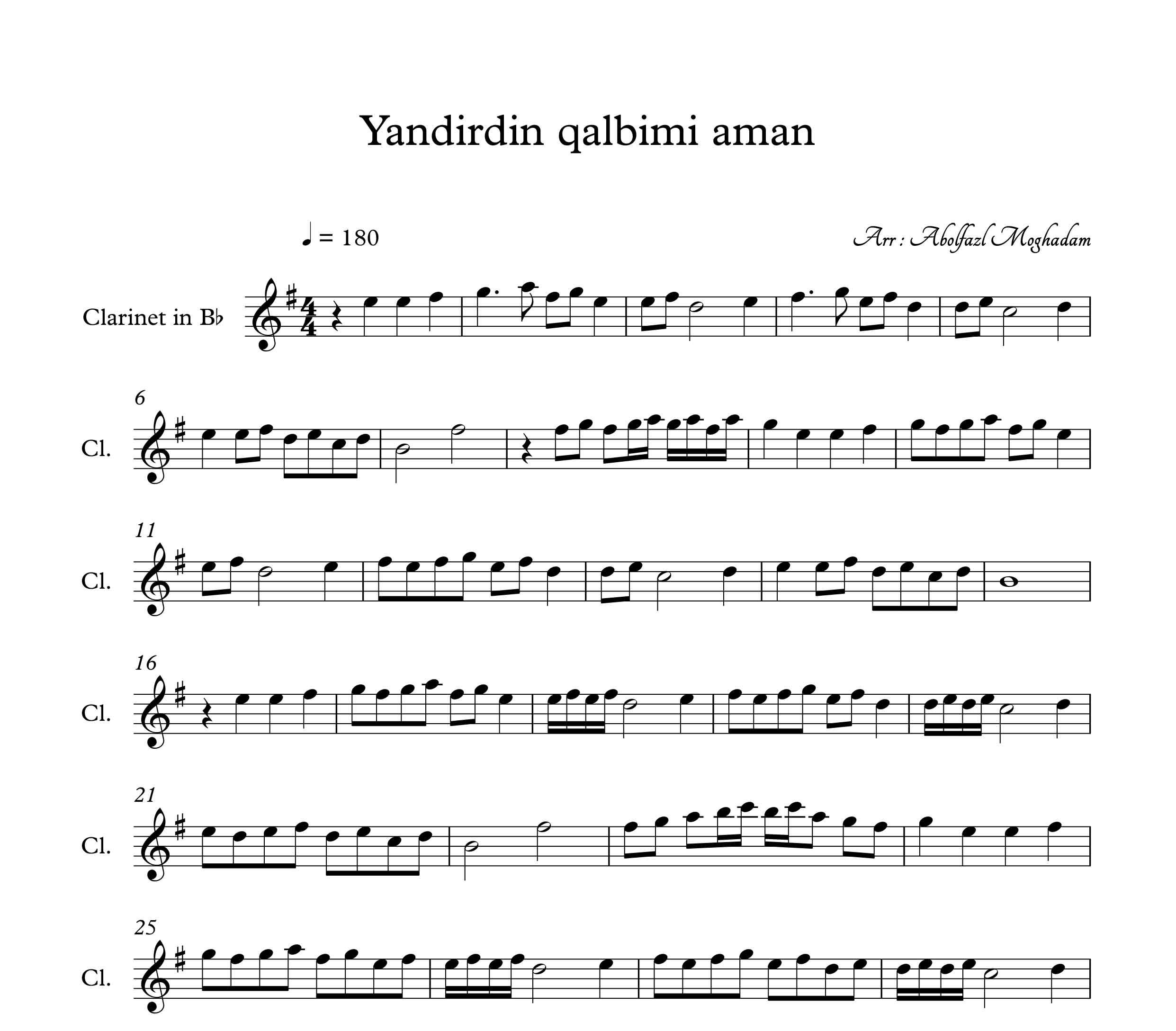 نت آهنگ آذربایجانی yandirdin qalbini aman برای کلارینت