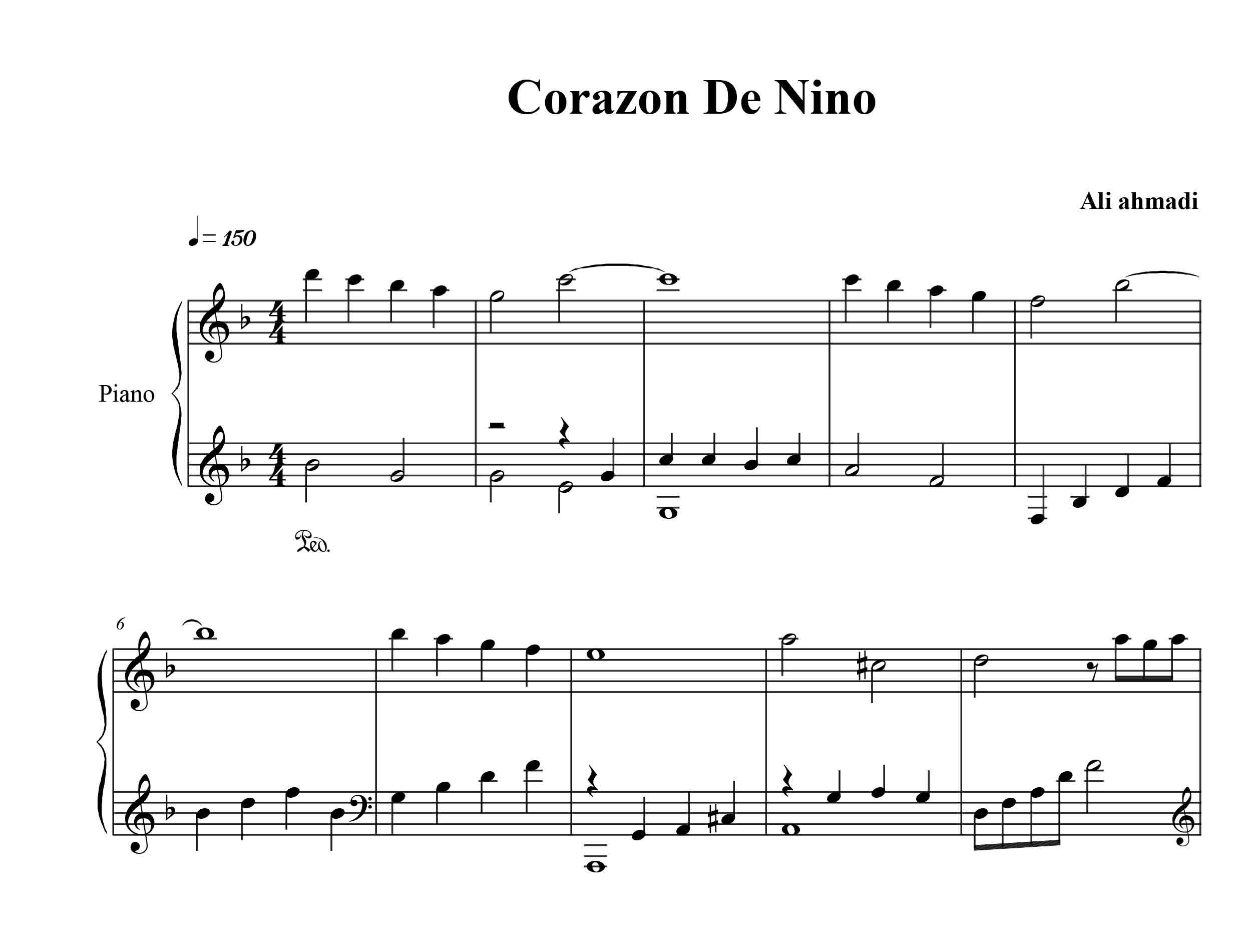 نت پیانو آهنگ قلب کودک از رائول دی بلاسیو