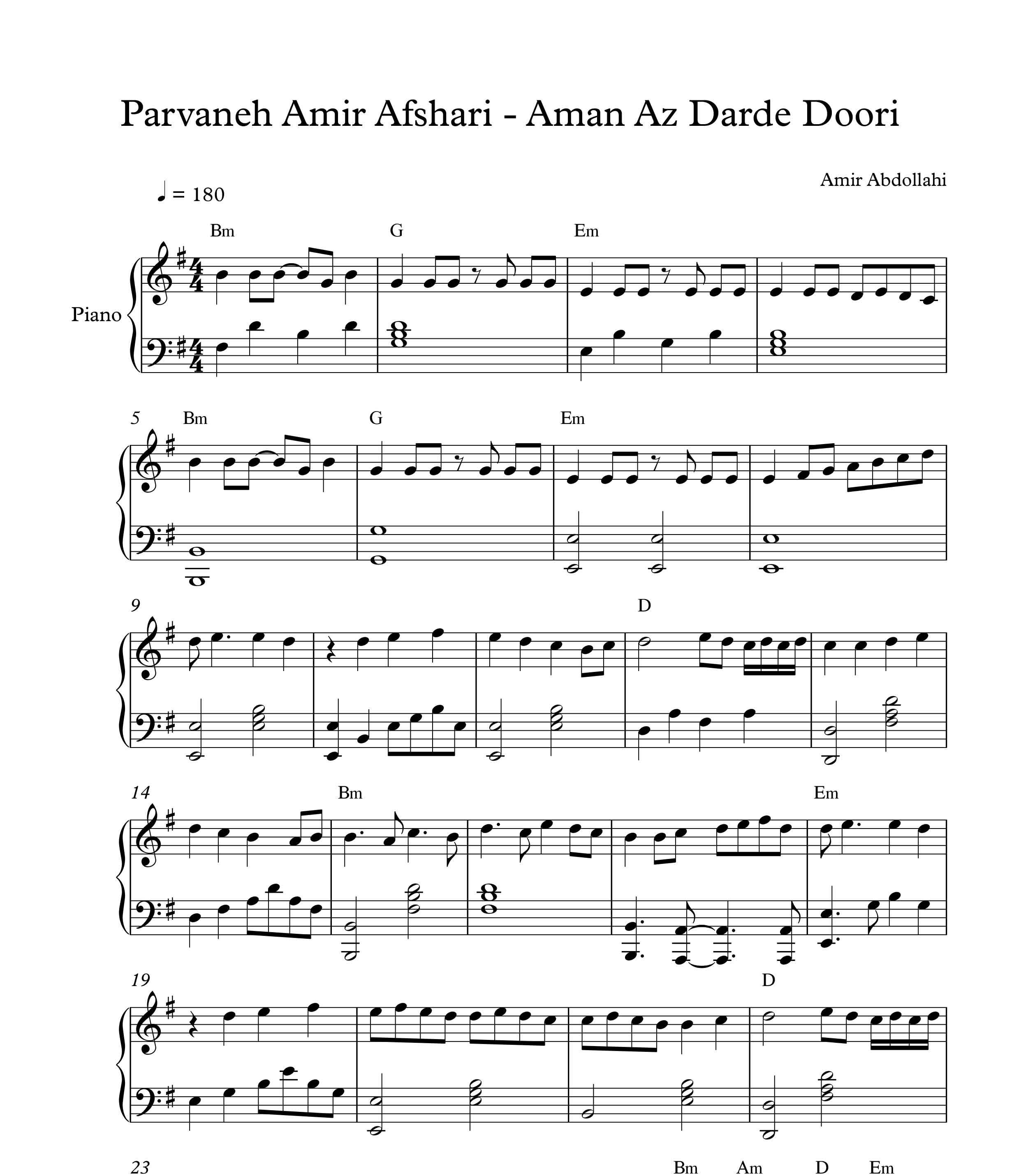نت پیانو امان از درد دوری از پروانه امیر افشاری