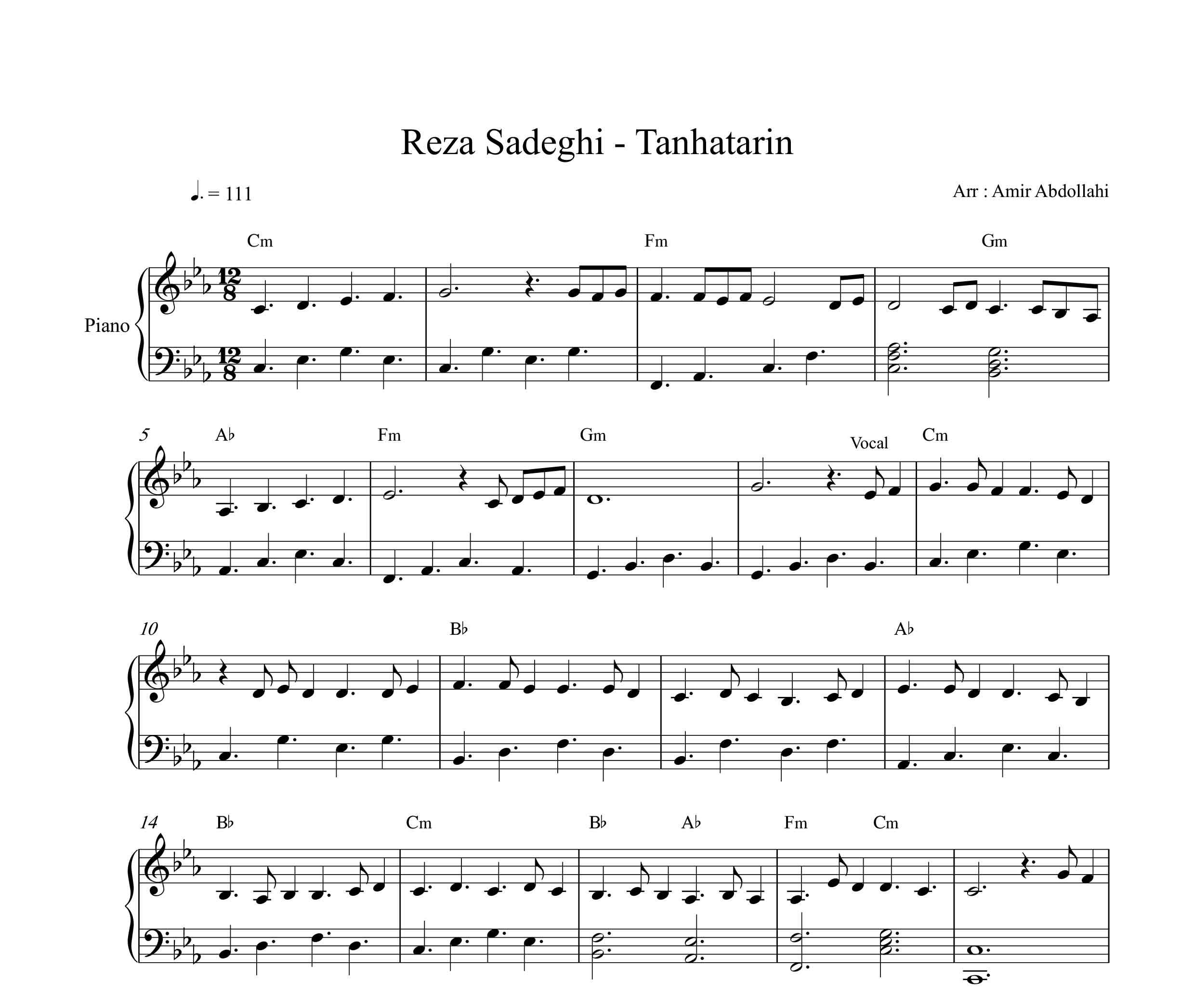 نت پیانو تنهاترین از رضا صادقی