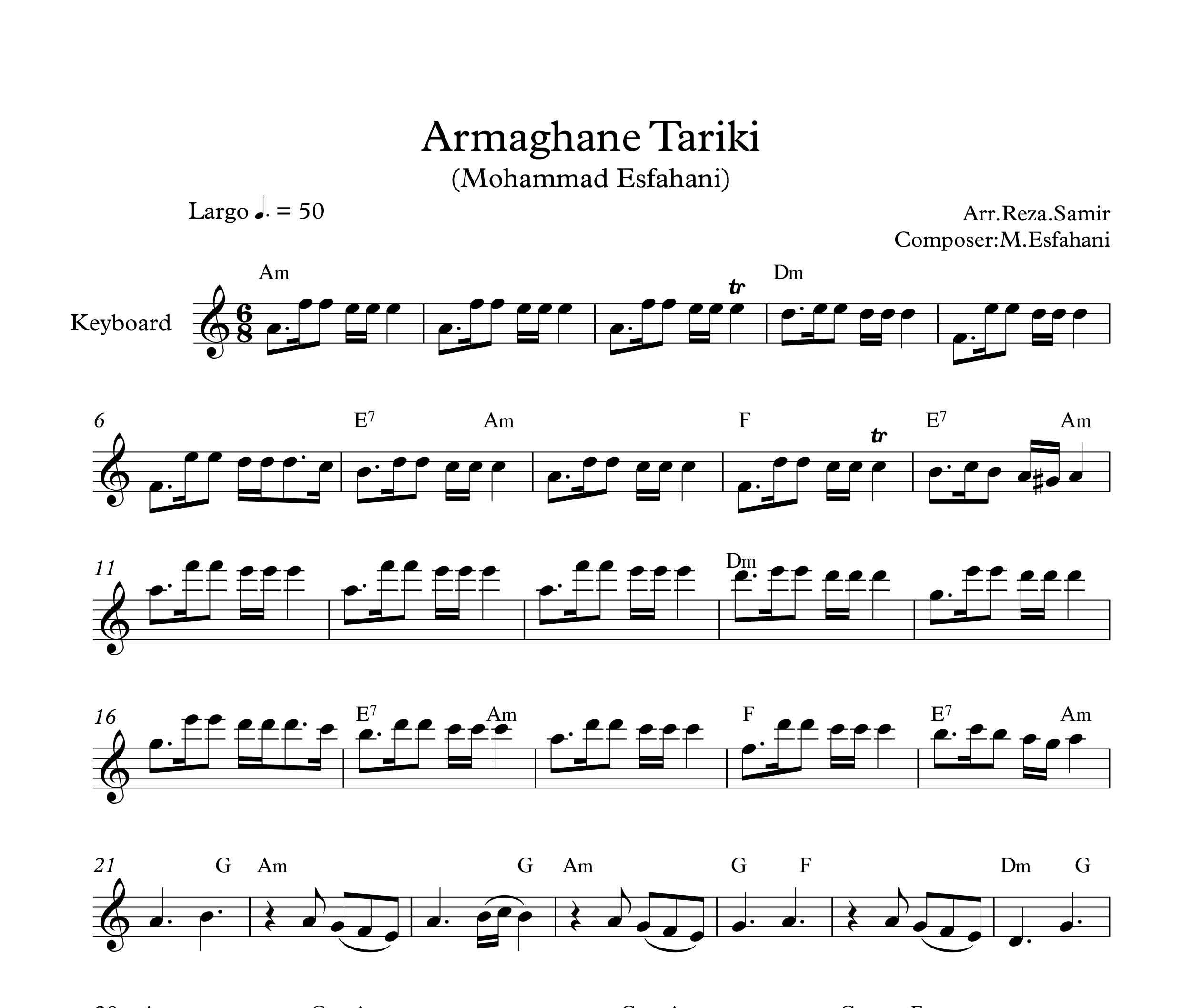 نت کیبورد آهنگ ارمغان تاریکی از محمد اصفهانی به همراه آکورد