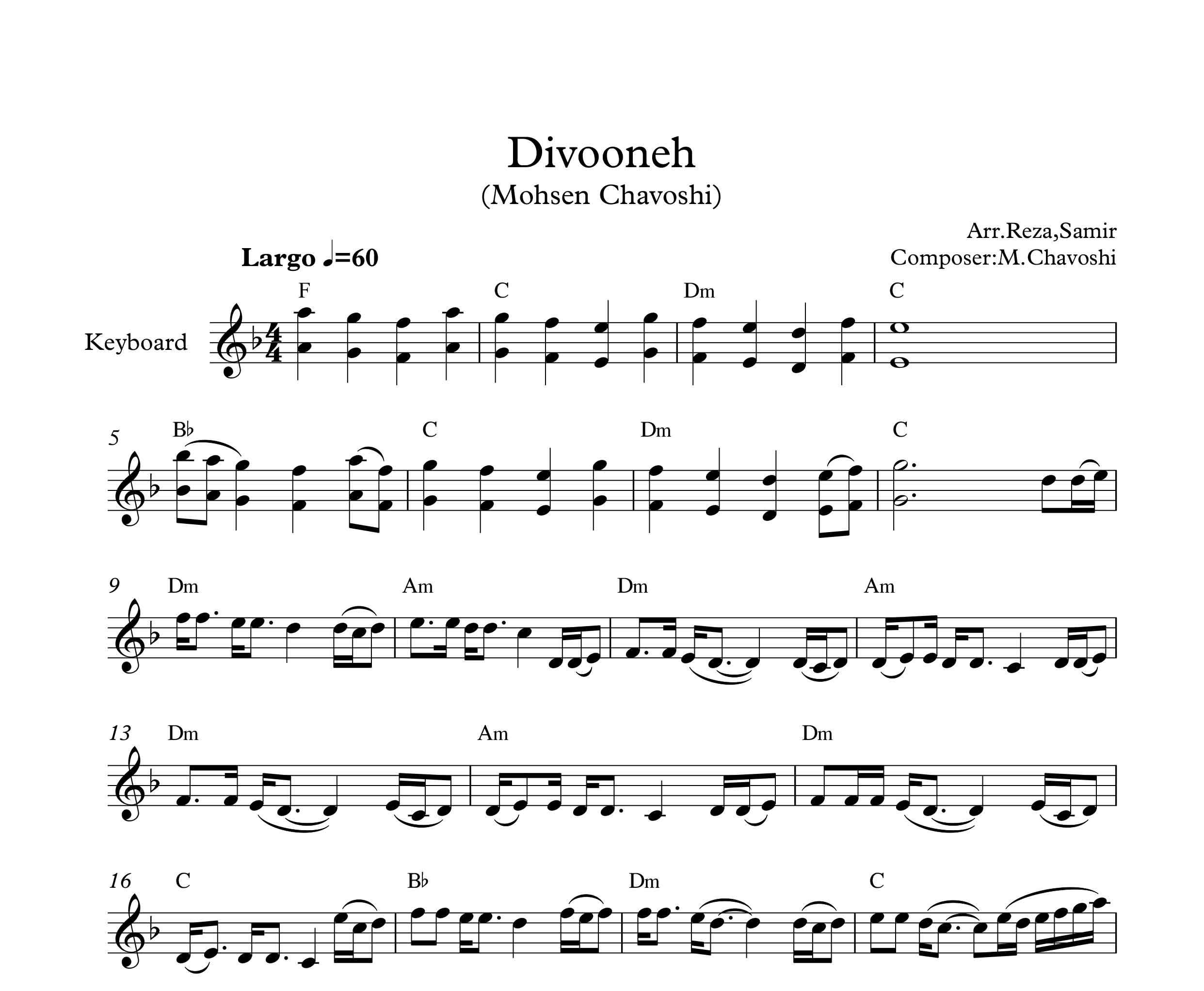 نت کیبورد آهنگ دیوونه از محسن چاوشی به همراه آکورد