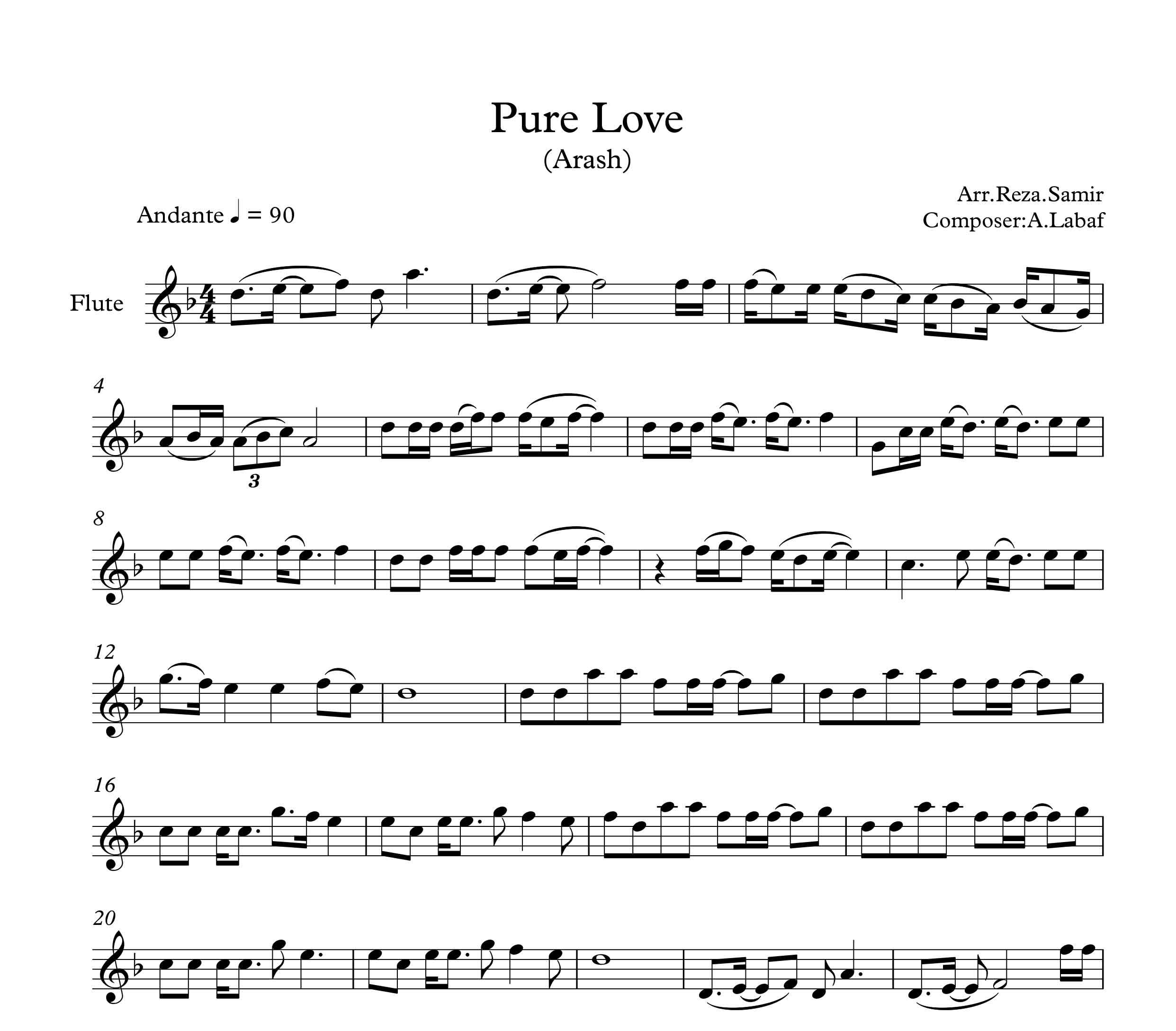 نت فلوت آهنگ Pure Love از آرش