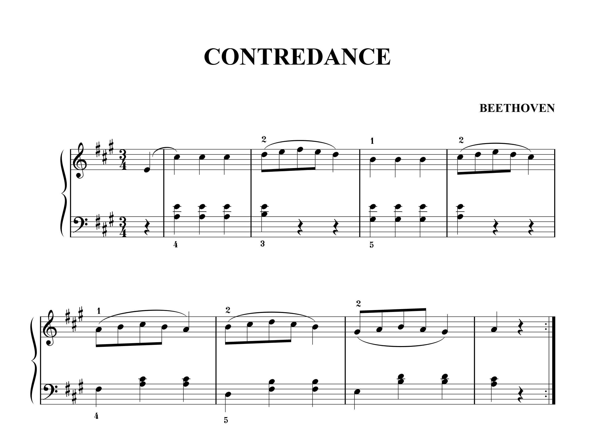 نت پیانو Contradance از بتهوون در سطح  ساده