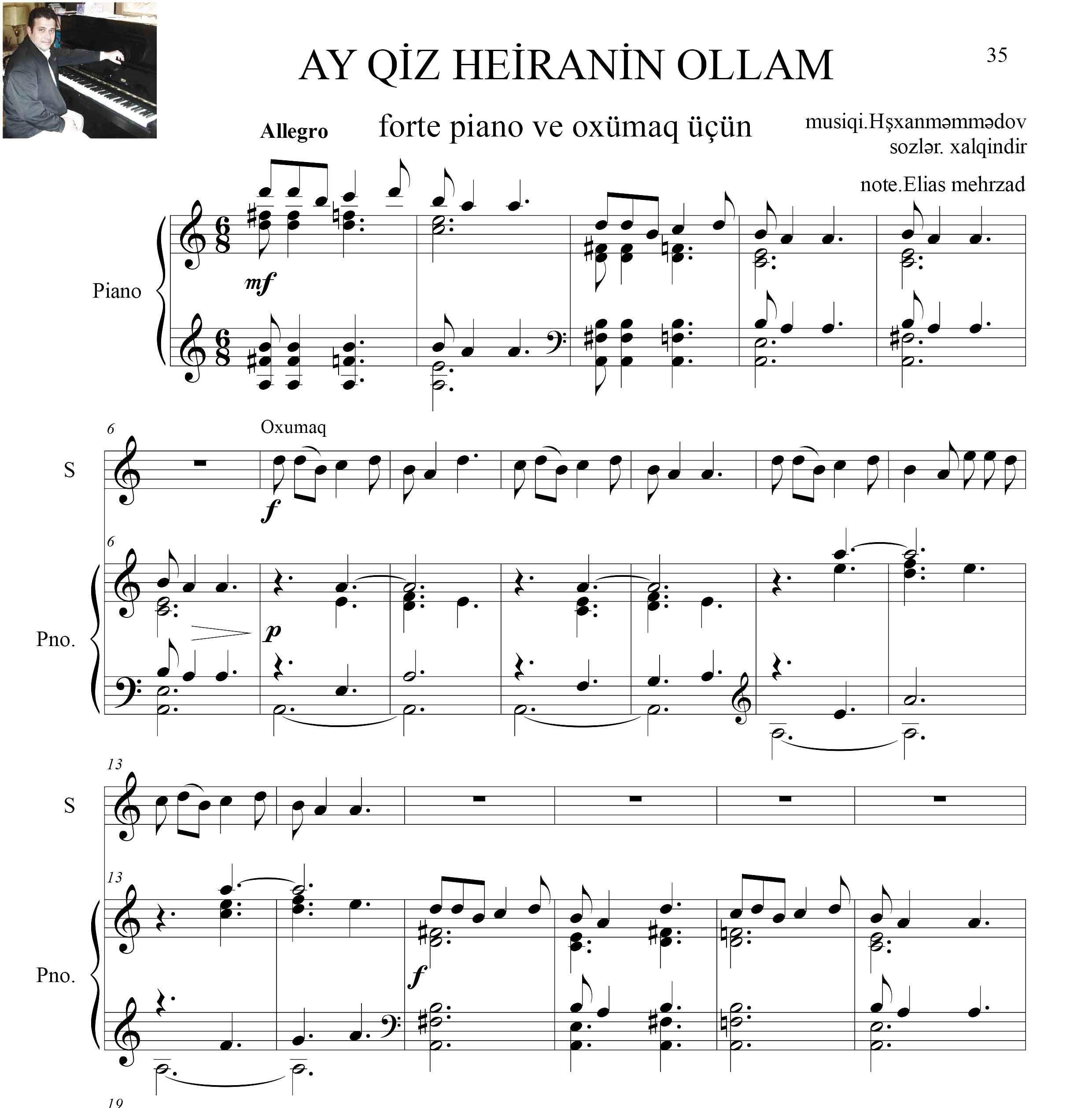 نت آذری آهنگ آی قیز حیرانین الام برای پیانو و آواز