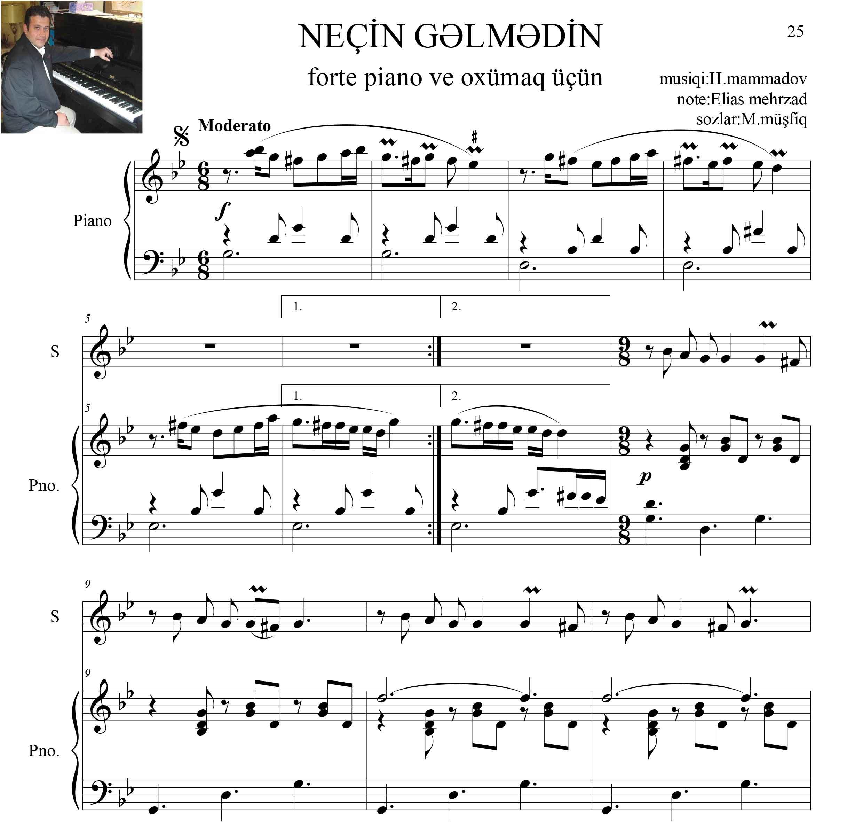 نت آذری آهنگ نیچین گلمدین برای پیانو آواز
