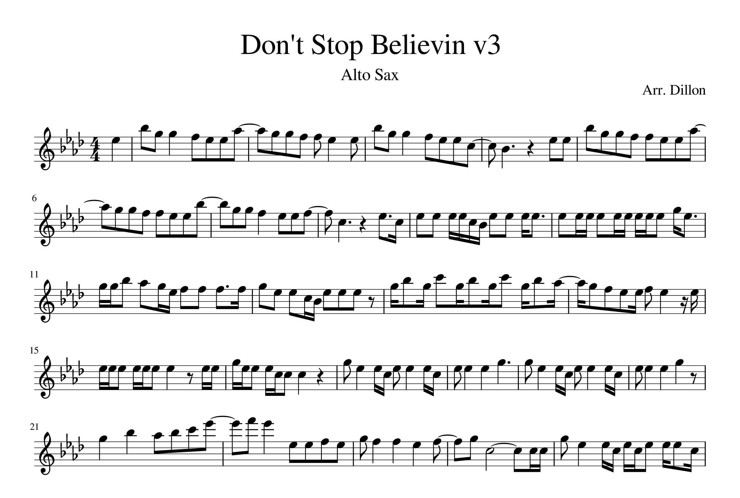 نت آهنگ Dont Stop Believin برای ساکسیفون آلتو