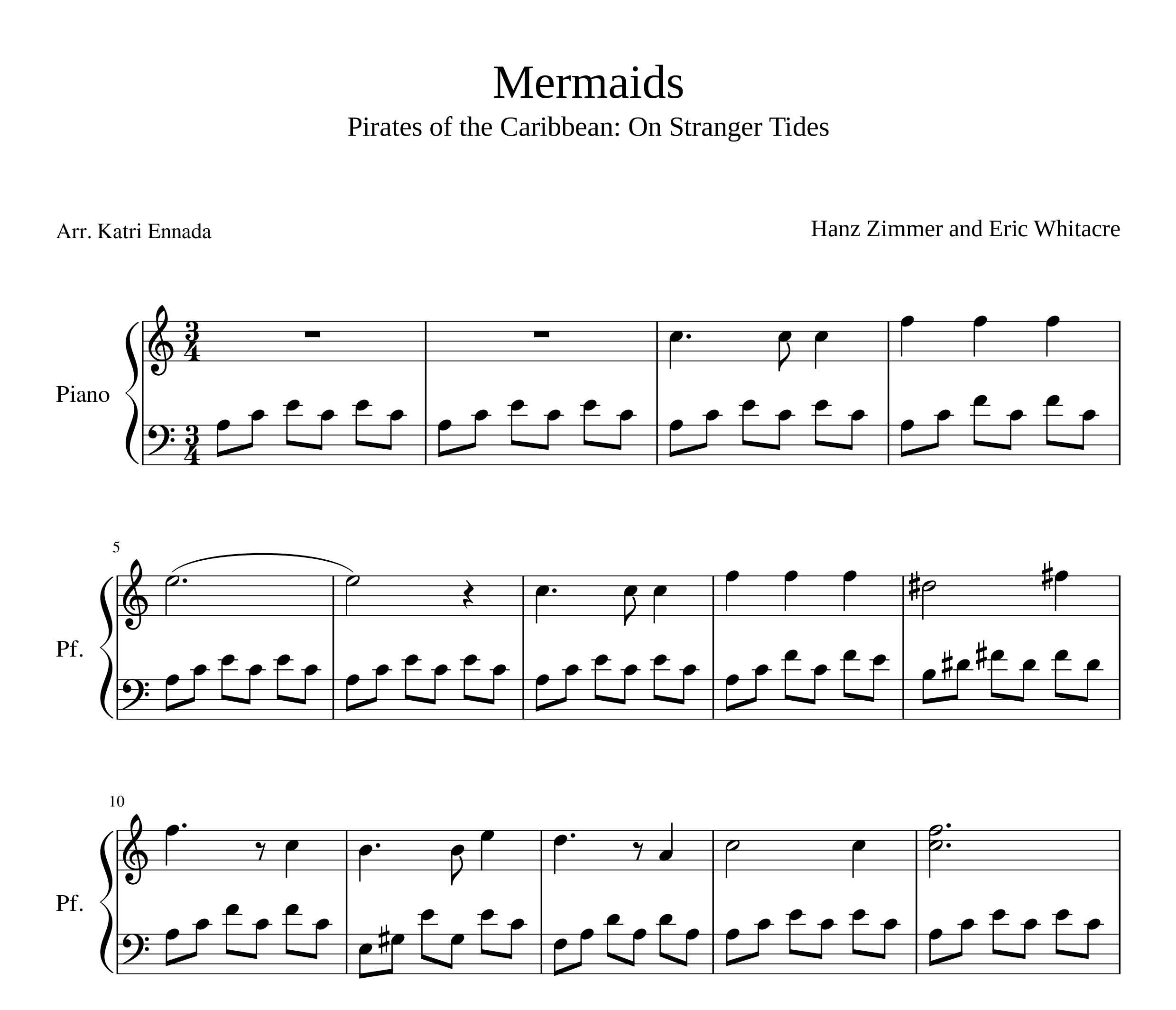 نت پیانوی Mermaids اثر هانس زیمر