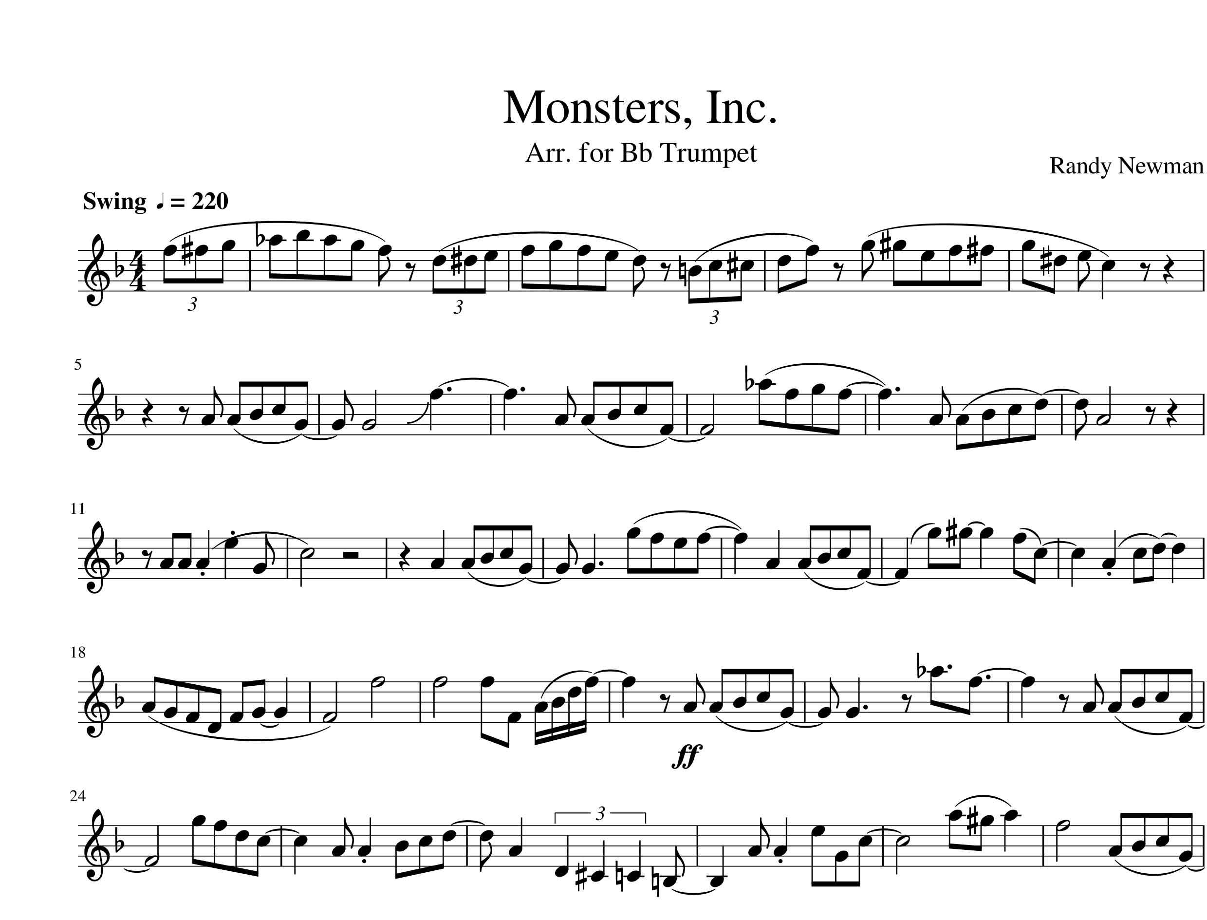 نت موسیقی انیمیشن کارخانه هیولاها Monsters Inc برای ترومپت