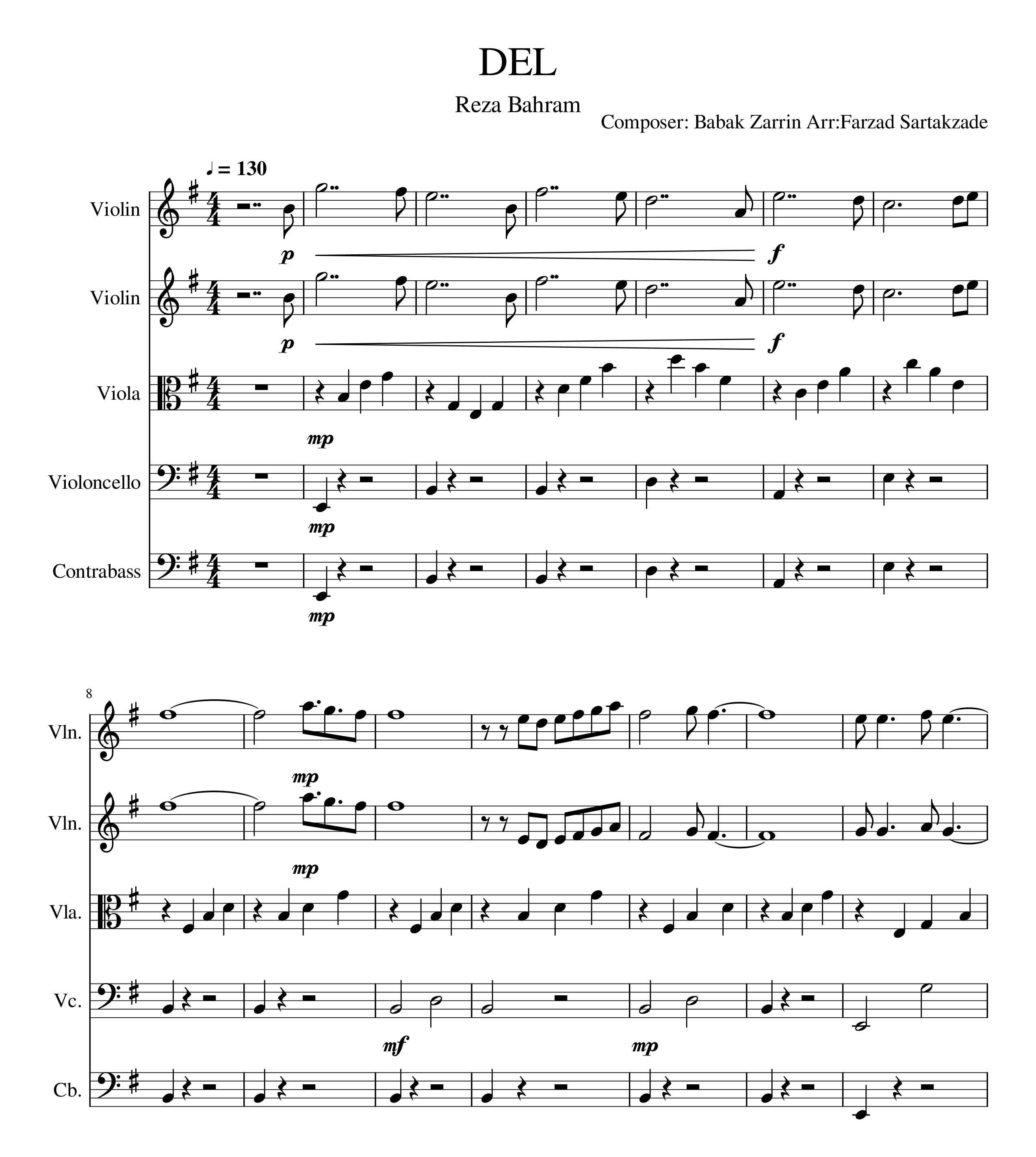 پارتیتور ارکستر زهی آهنگ دل از رضا بهرام