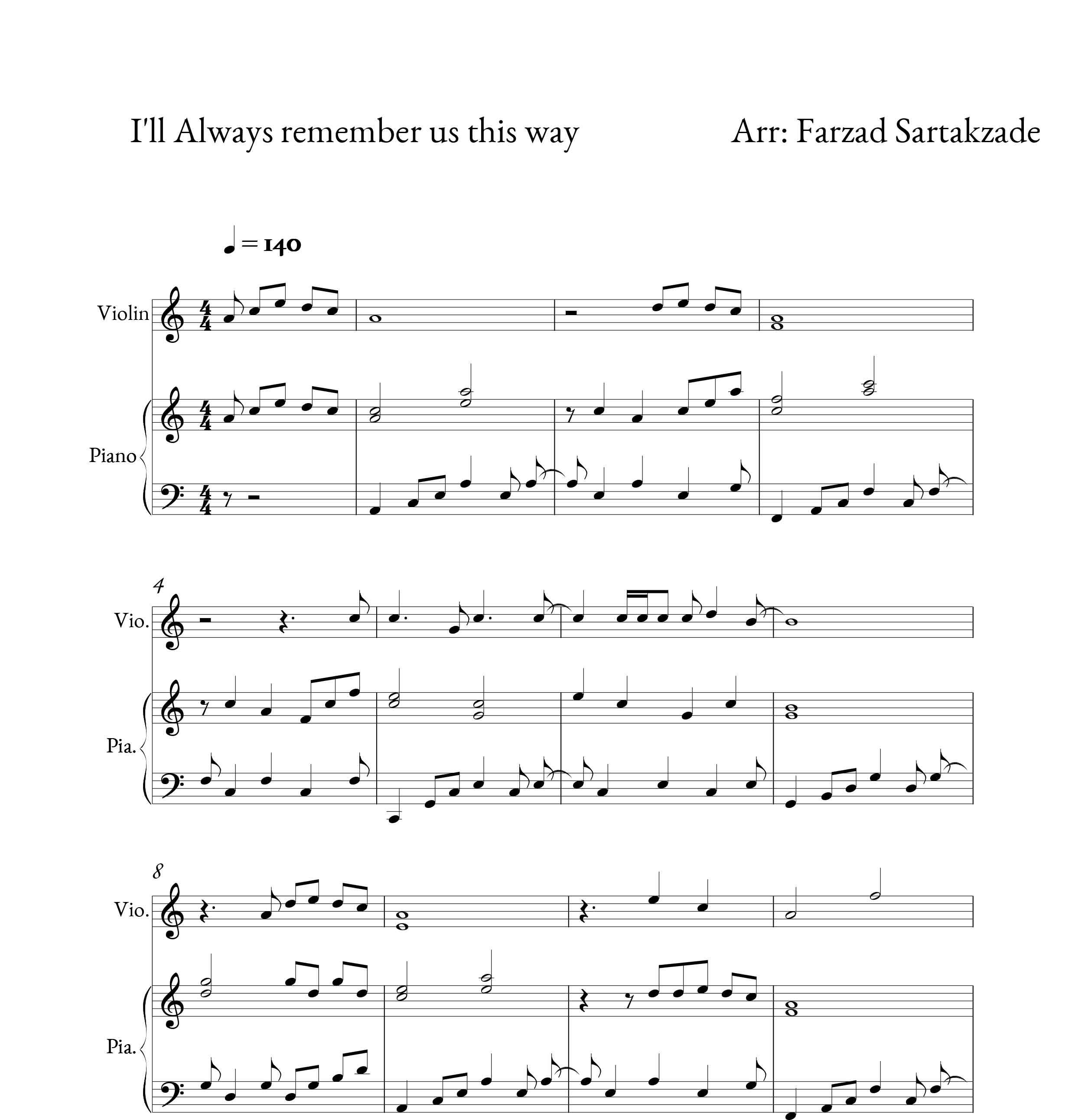 نت دوئت پیانو و ویولن آهنگ Allways remember us this way از لیدی گاگا