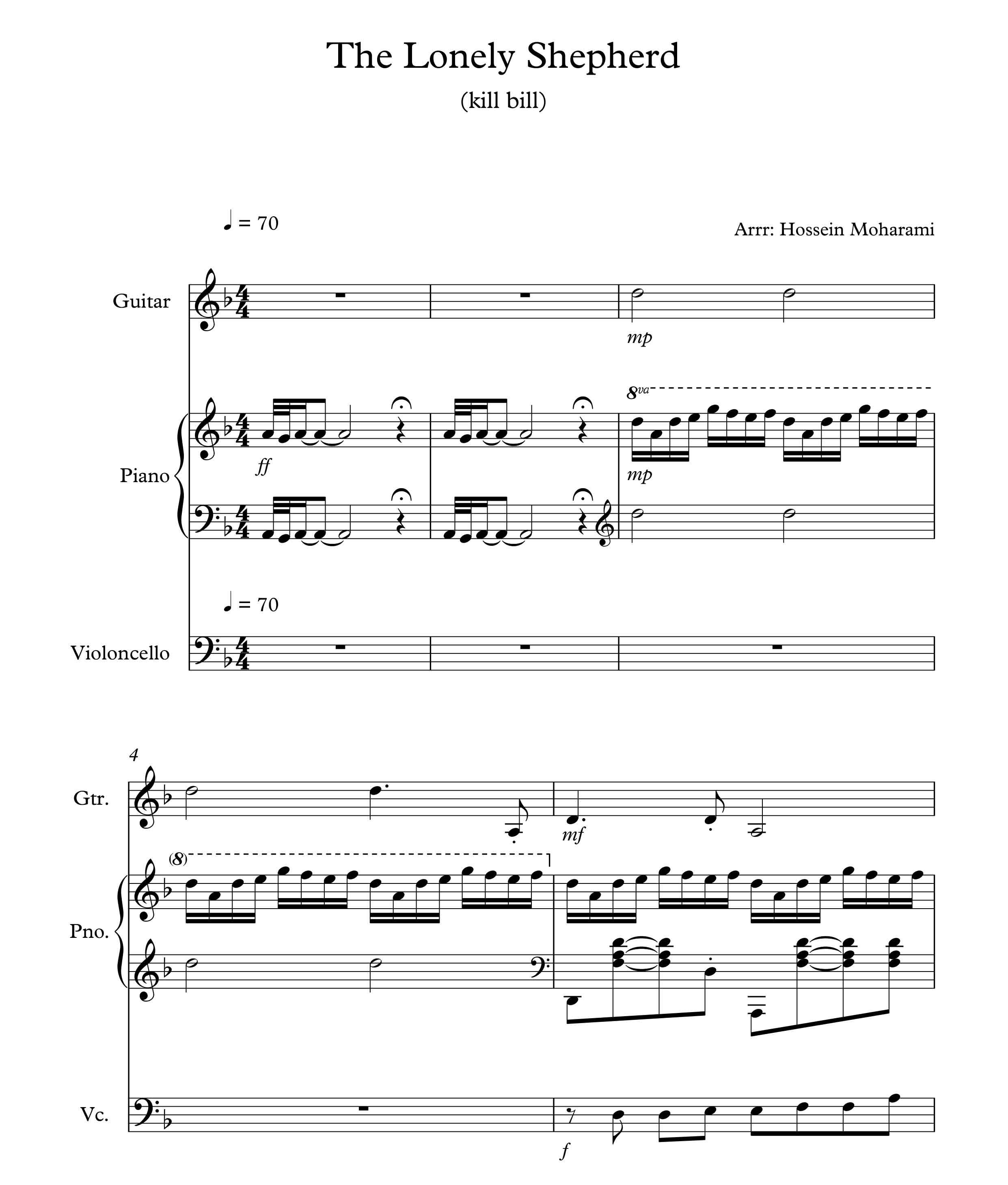 نت قطعه (lonely shepherd (kill bill برای تریو  پیانو ویولنسل و گیتار