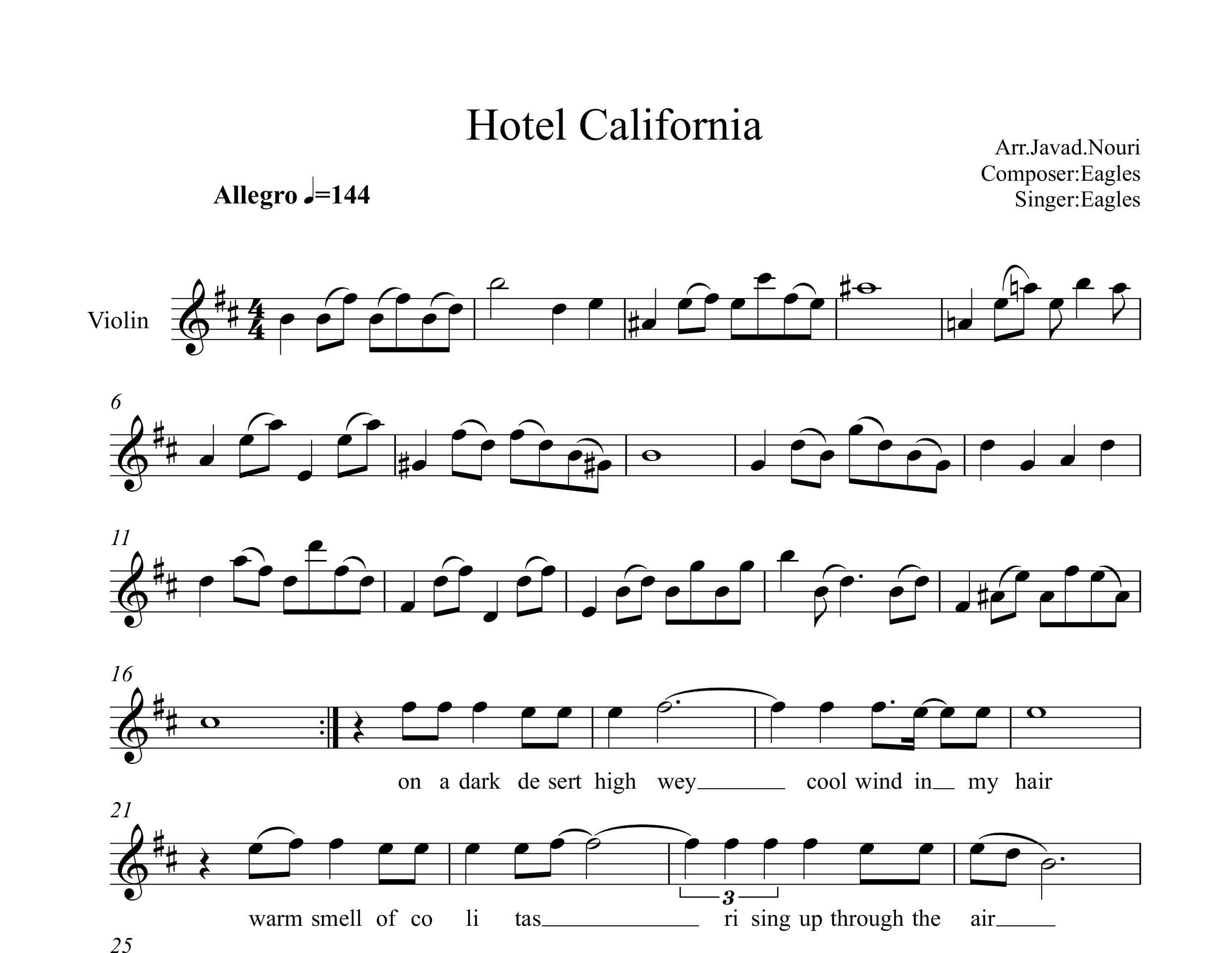نت ویولن آهنگ هتل کالیفرنیا