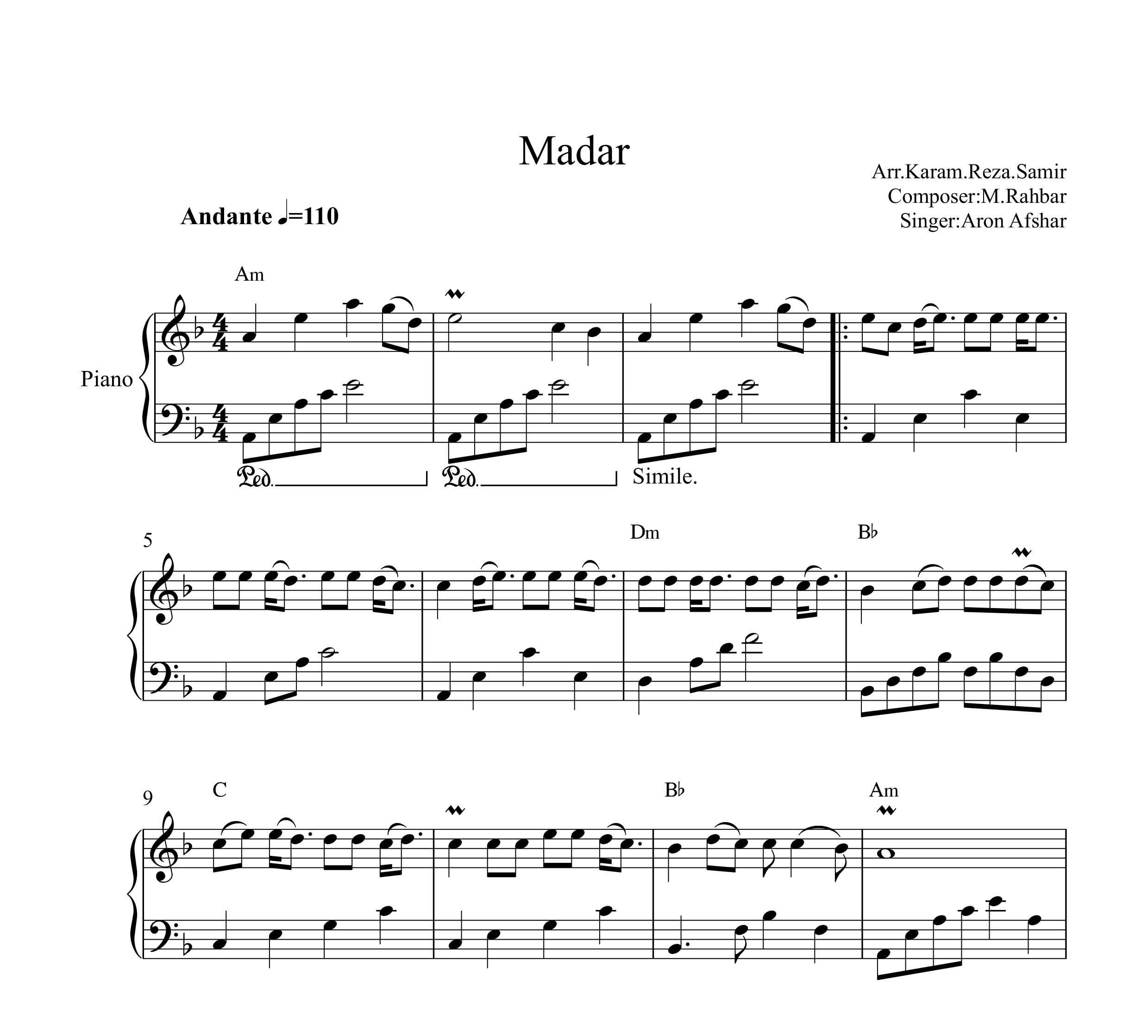 نت پیانو مادر از ارون افشار با آکورد