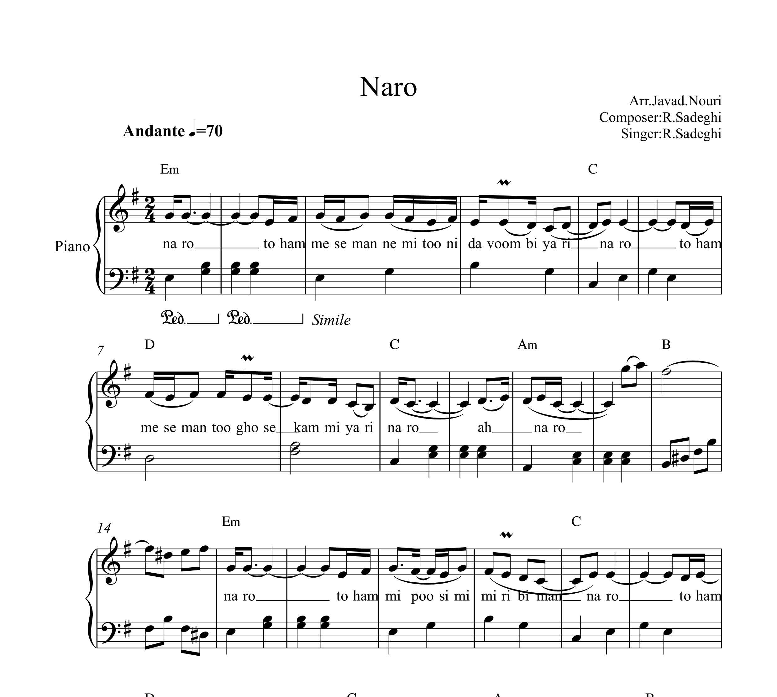 نت پیانوی نرو از رضا صادقی به همراه آکورد