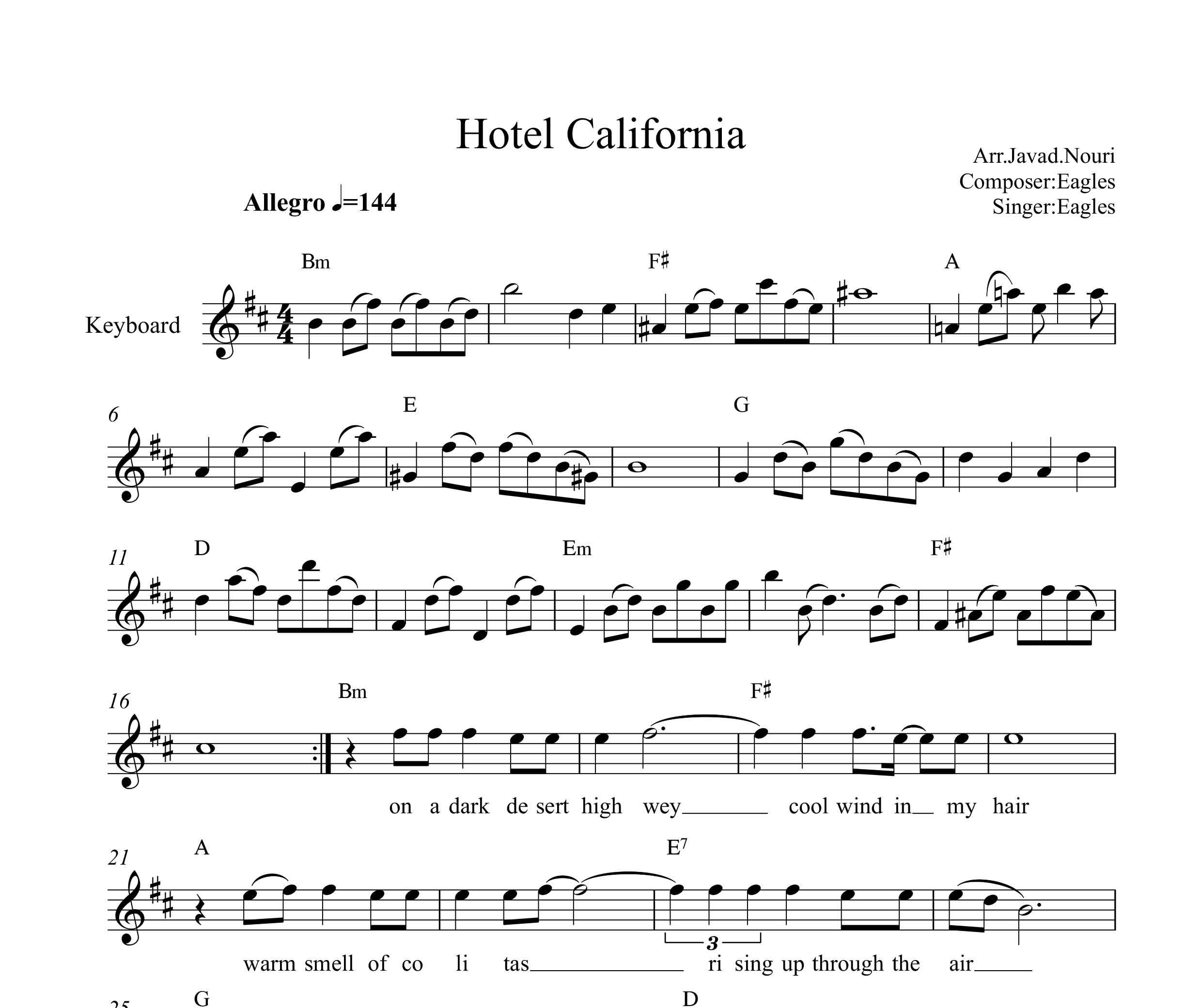 نت کیبورد هتل کالیفرنیا با تنظیم جواد نوری