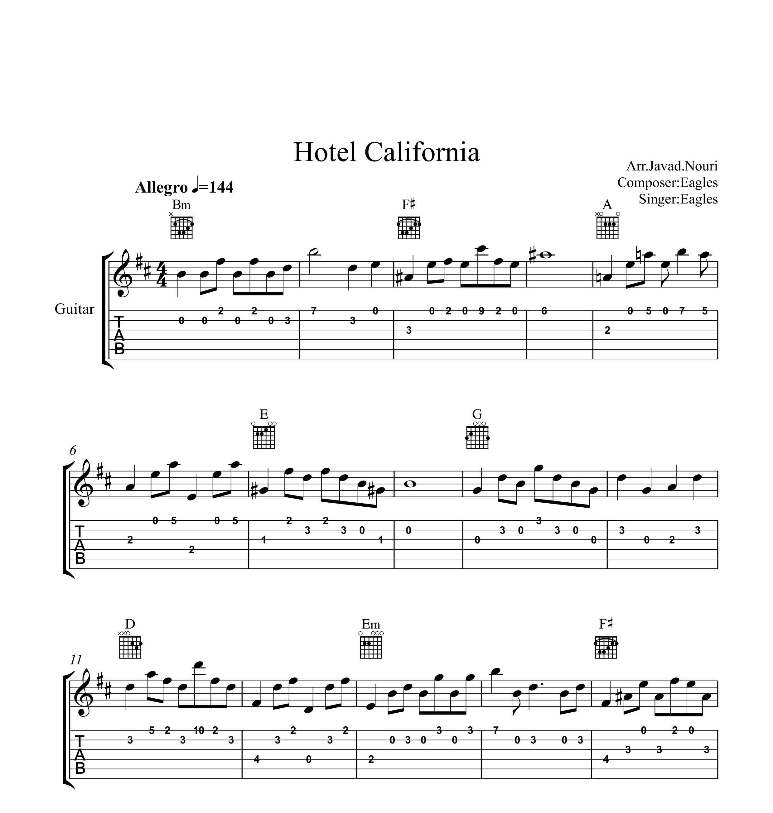 نت گیتار هتل کالیفرنیا به همراه تبلچر و آکورد