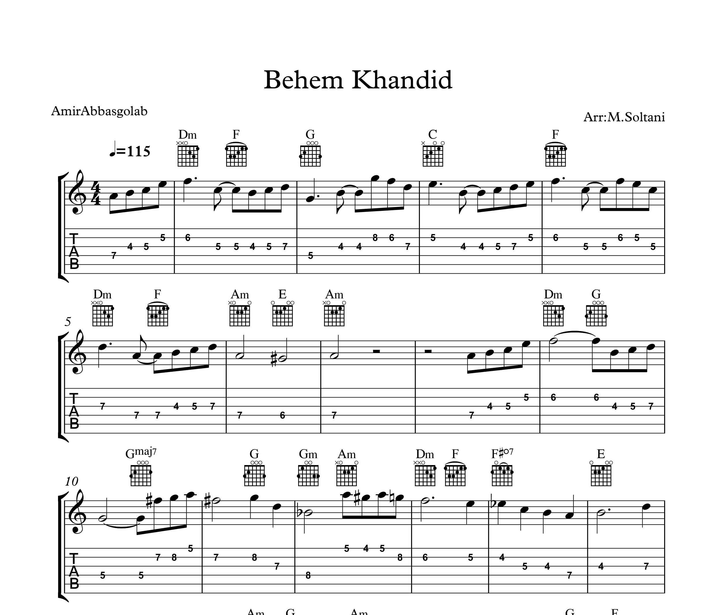 نت و تبلچر گیتار آهنگ بهم خندید از امیر عباس گلاب