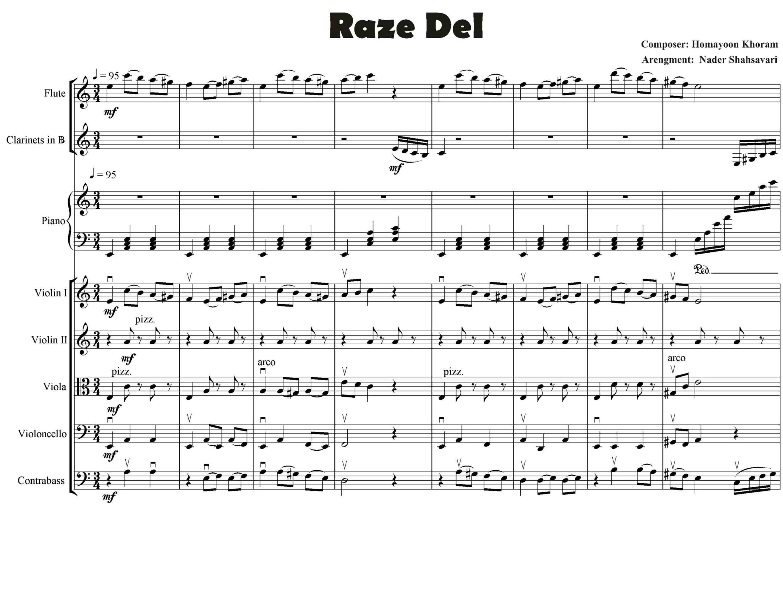 پارتیتور راز دل برای ارکستر کلاسیک