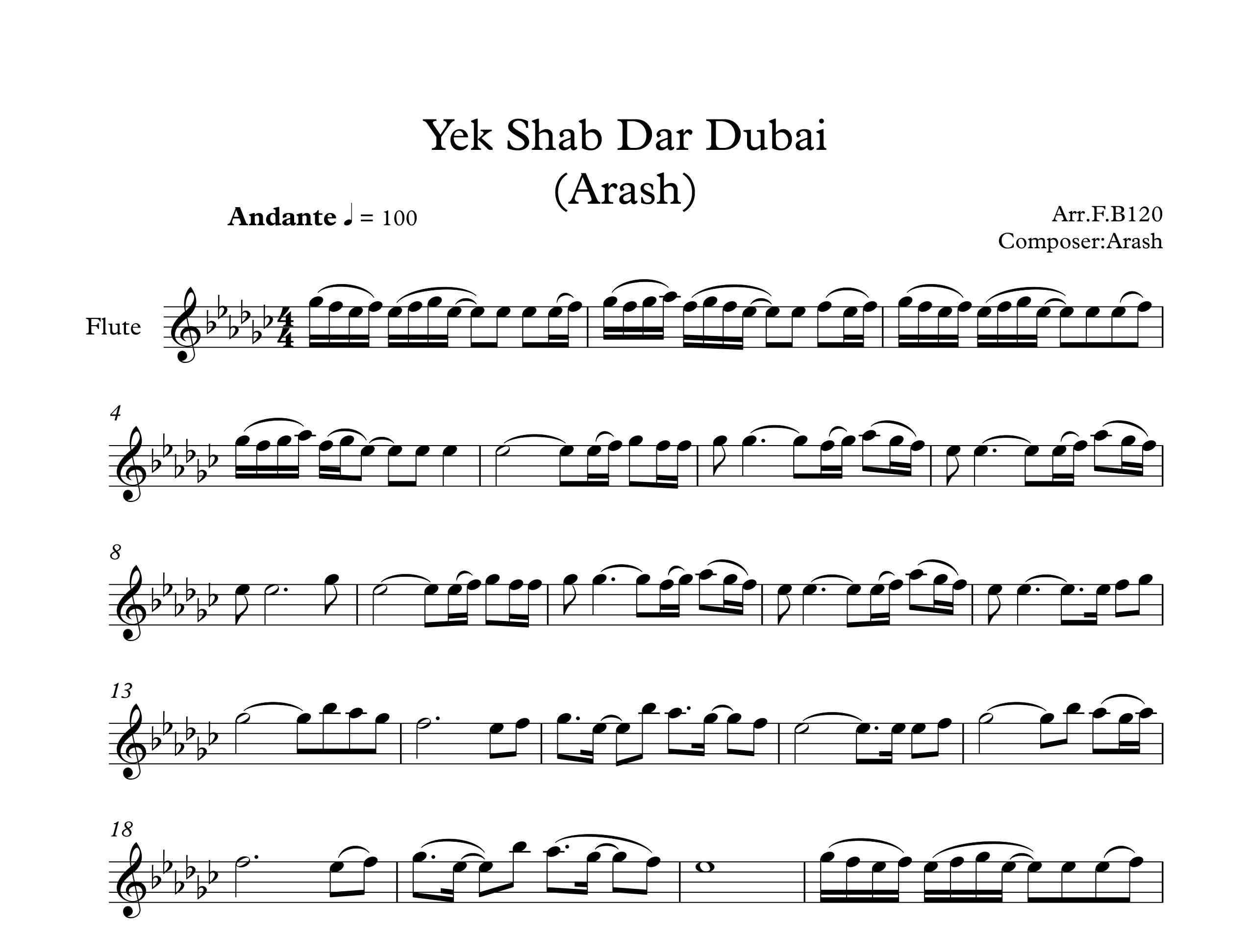 نت آهنگ یک شب در دبی از آرش برای فلوت |