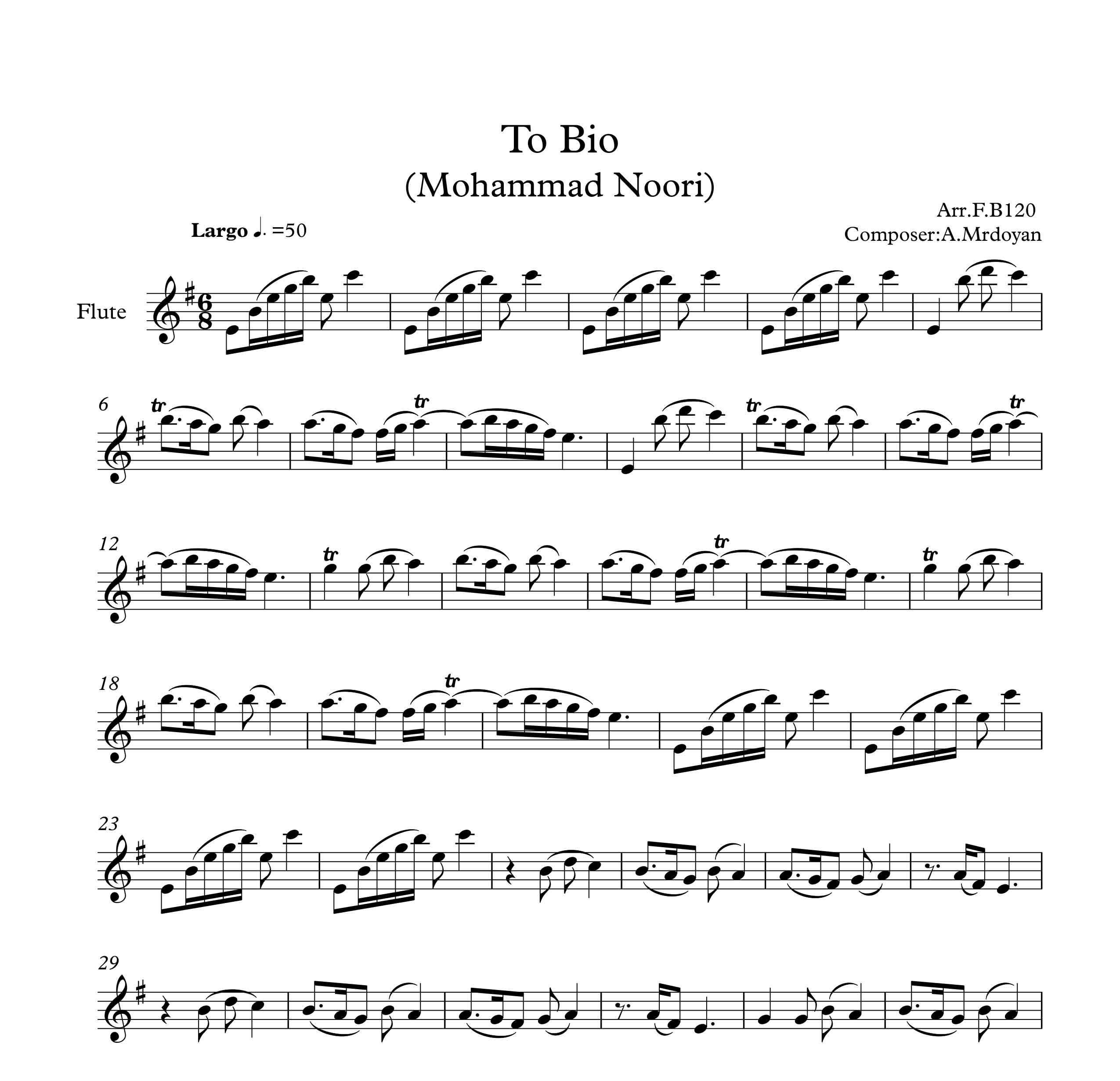 نت فلوت آهنگ تو بیو از محمد نوری