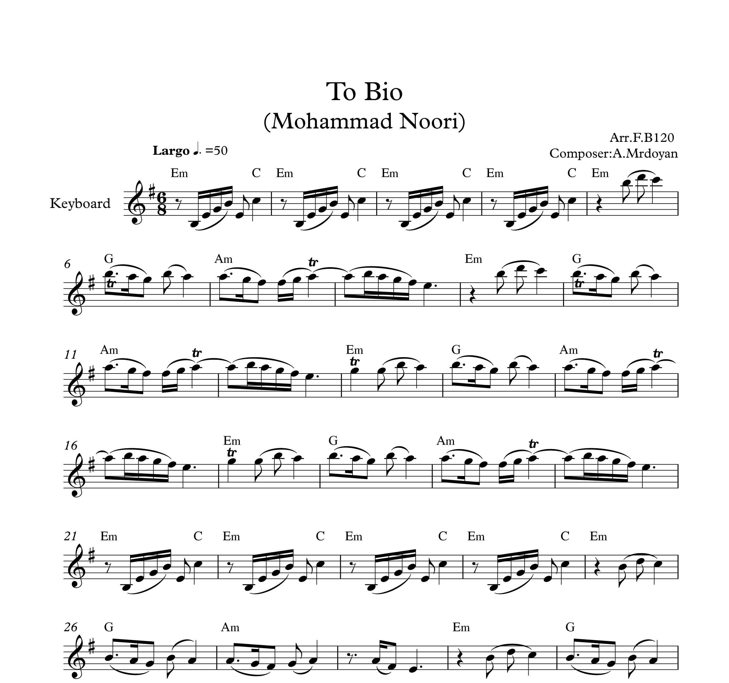 نت کیبورد آهنگ تو بیو از محمد نوری به همراه آکورد