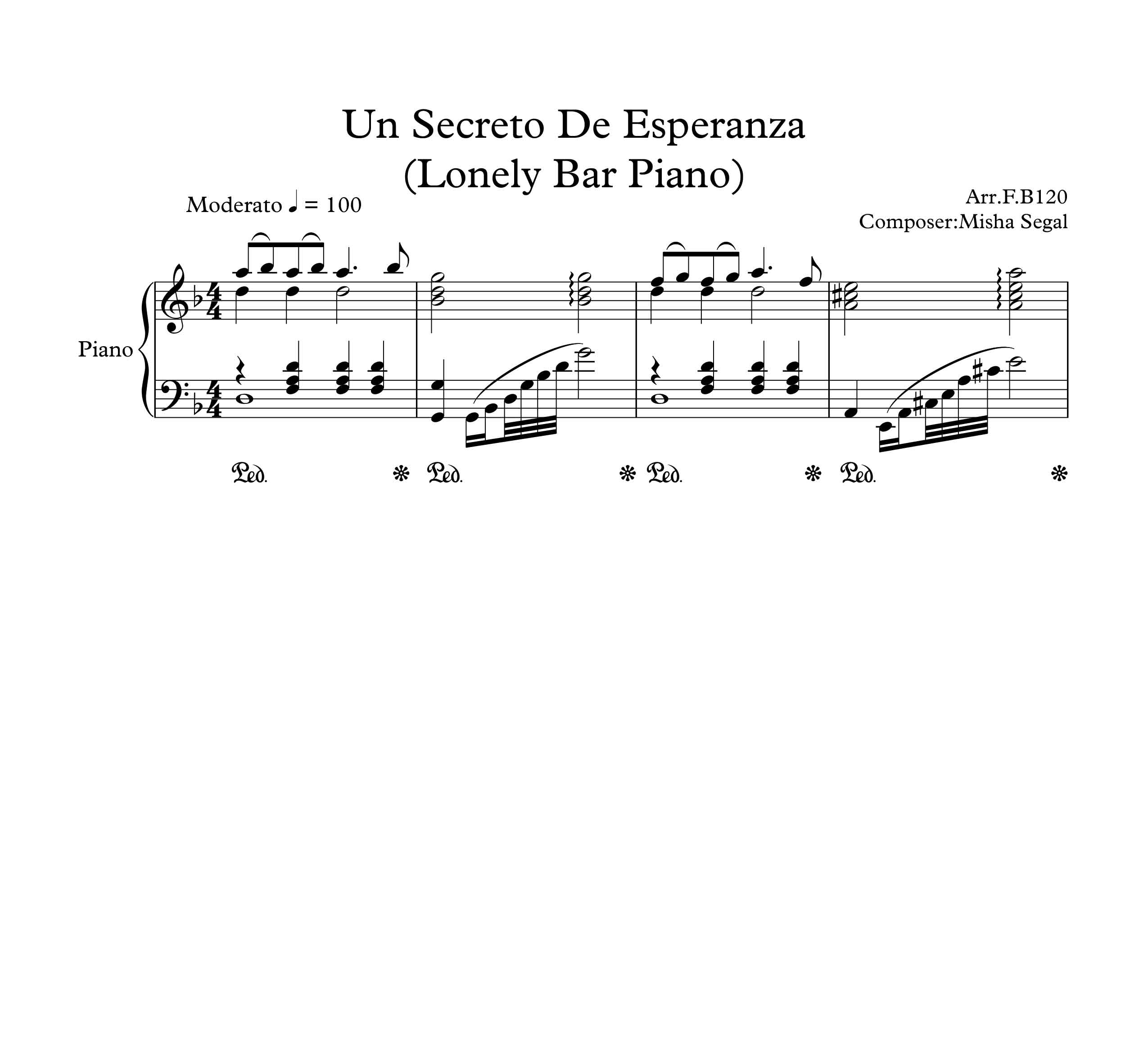 نت پیانو آهنگ un secreto de esperanza lonely bar piano از misha segal