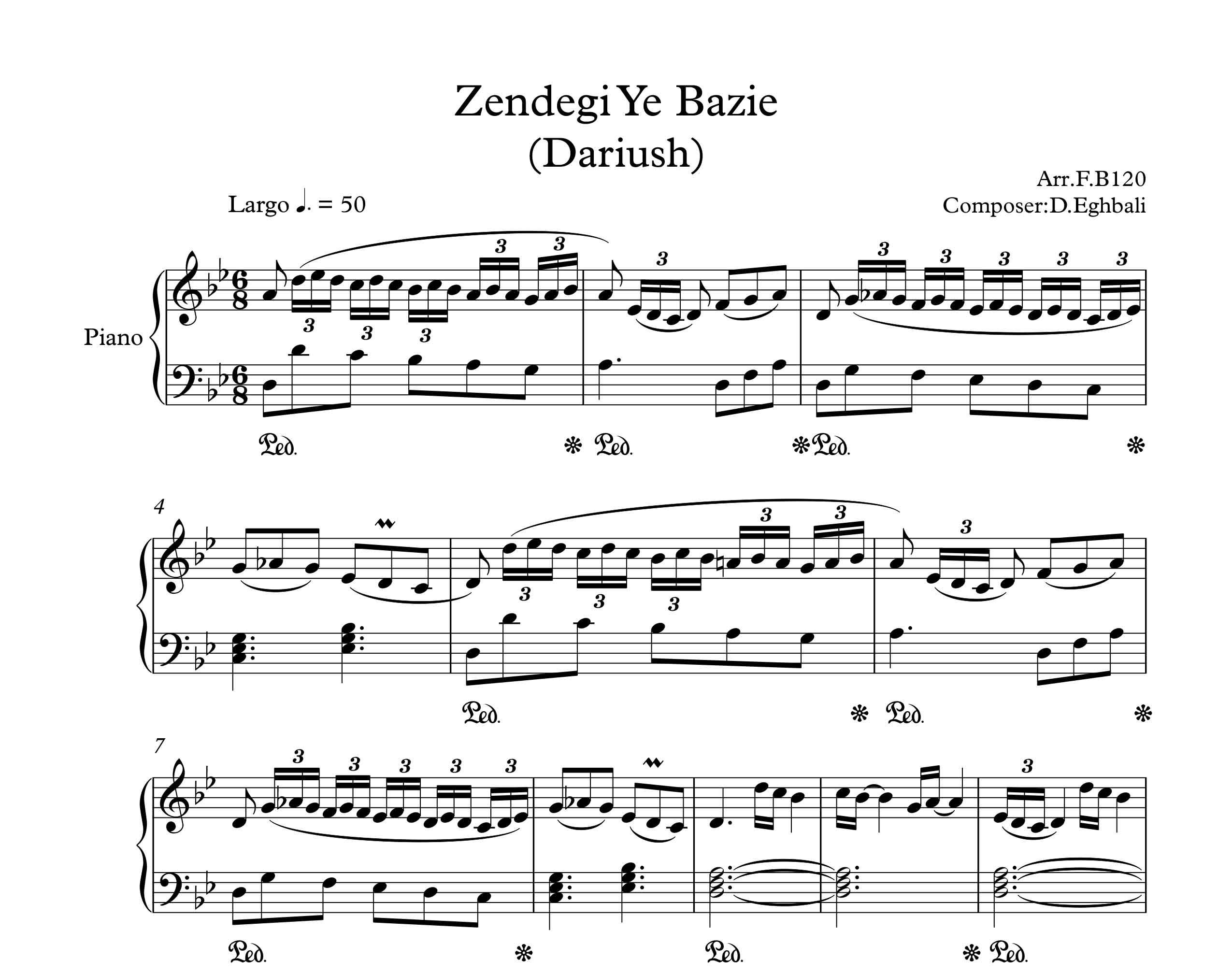 نت پیانوی زندگی یه بازیه از داریوش