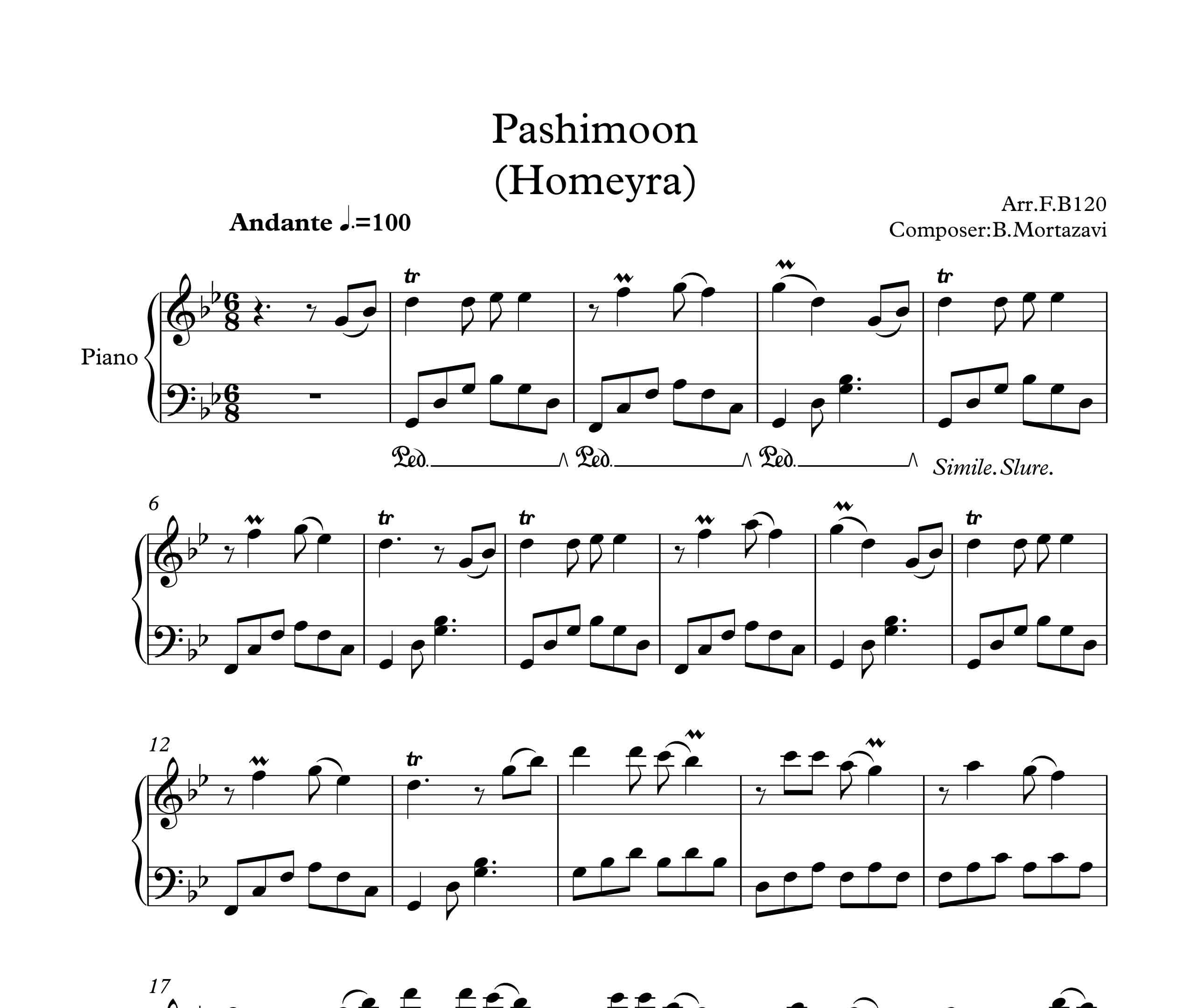 نت آهنگ پشیمون برای پیانو