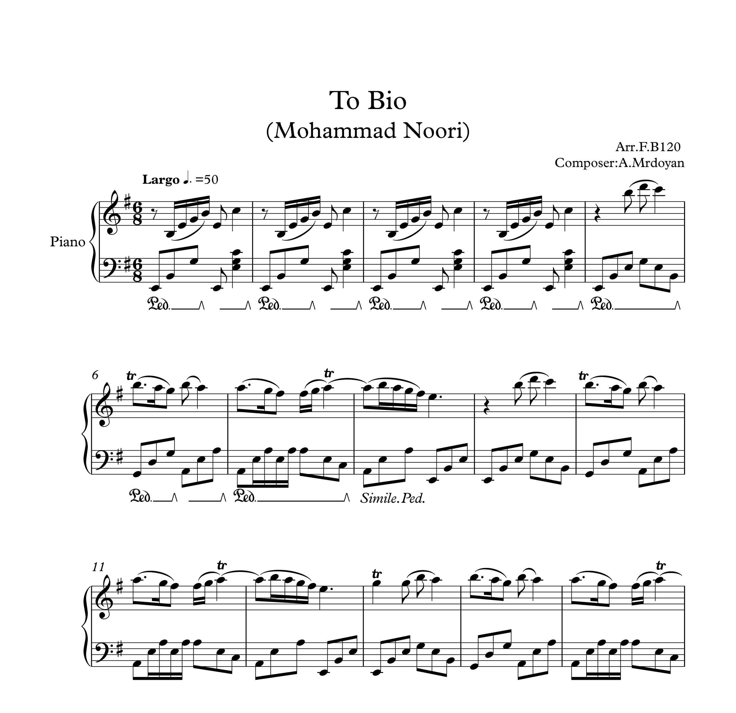 نت پیانو آهنگ تو بیو از محمد نوری