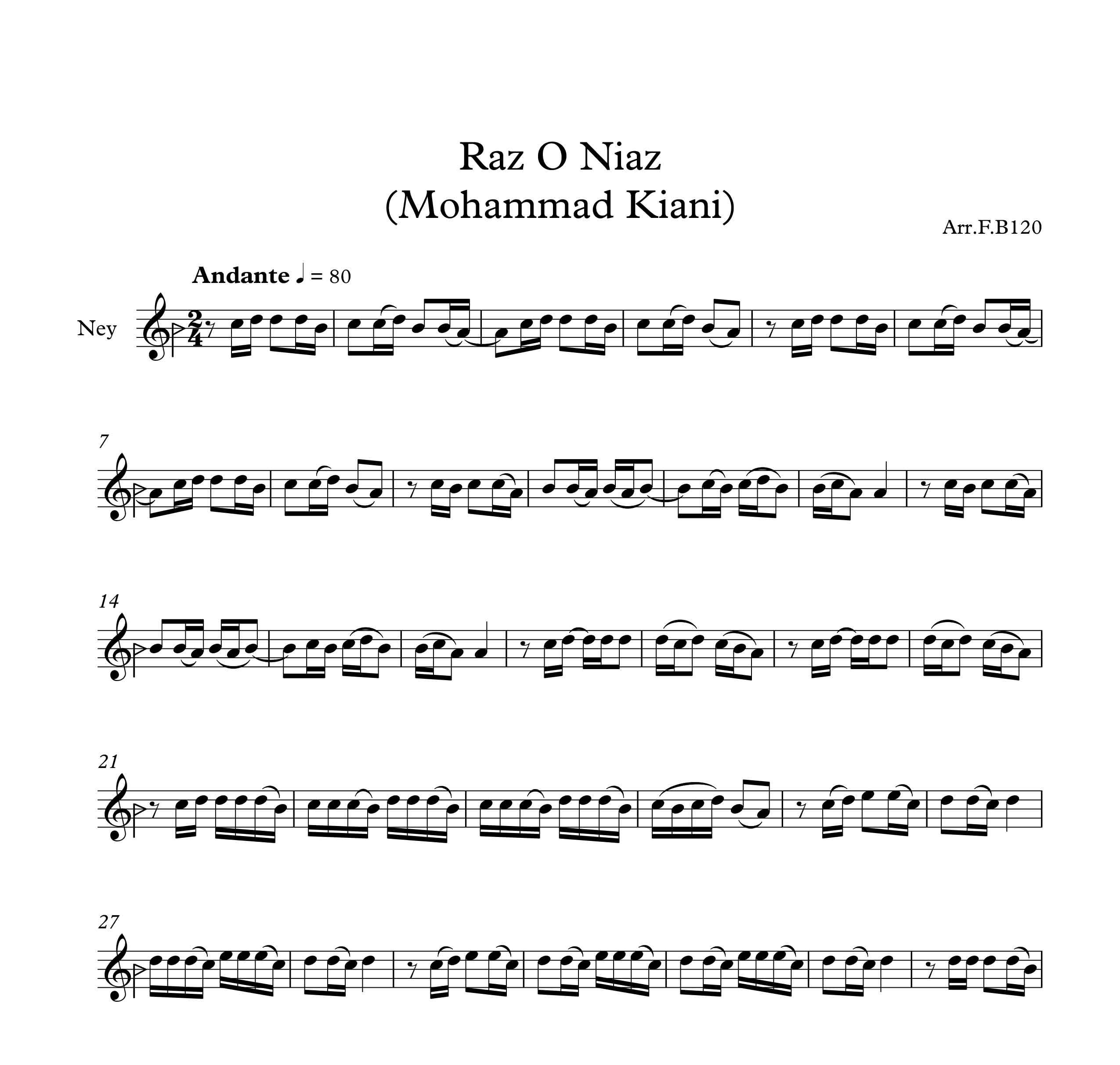 نت آهنگ راز و نیاز اثر محمد علی کیانی نژاد برای نی