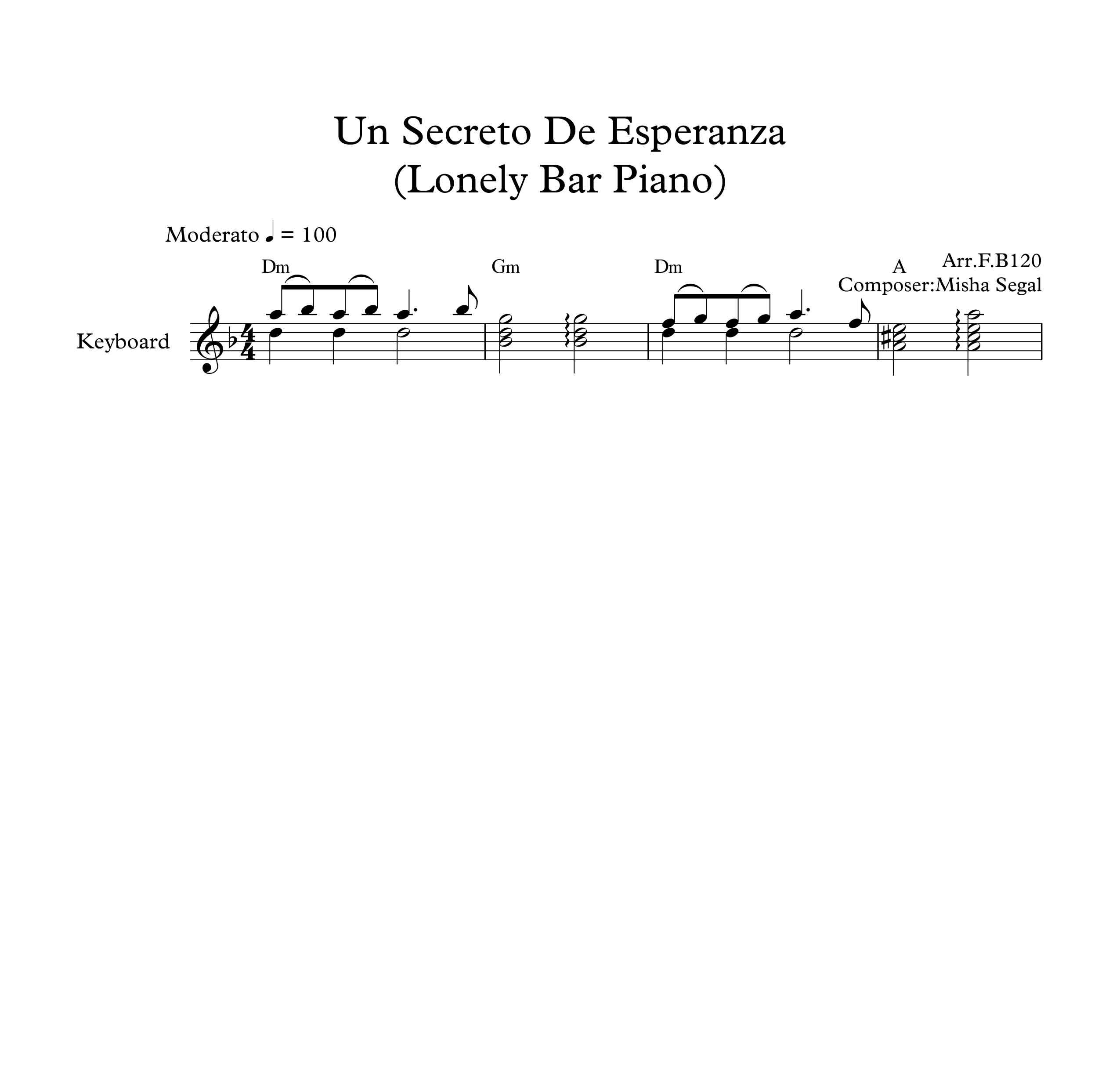 نت کیبورد آهنگ Un Secreto De Esperanza Lonely Bar Piano به همراه آکورد