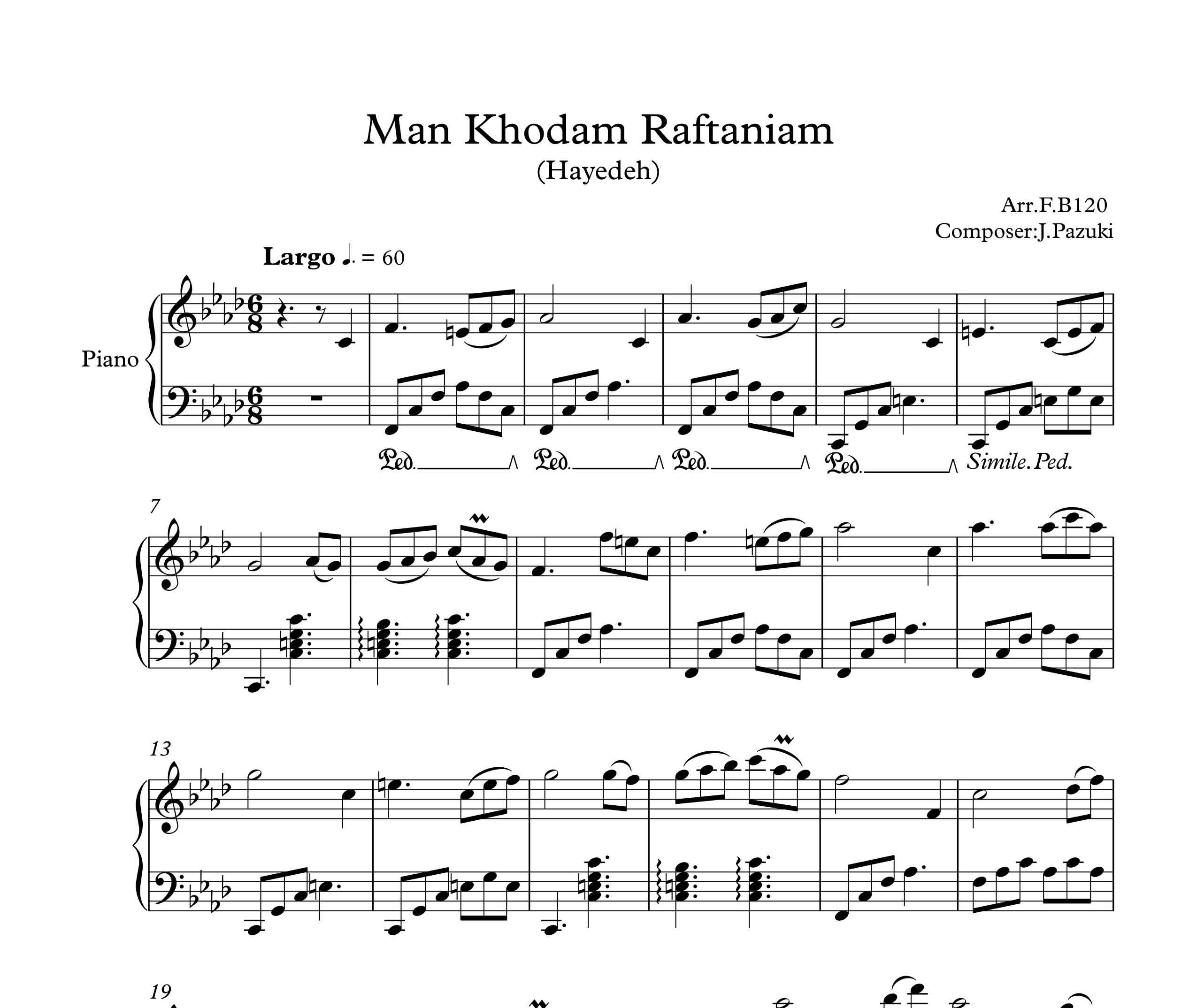 نت آهنگ من خودم رفتنیم برای پیانو