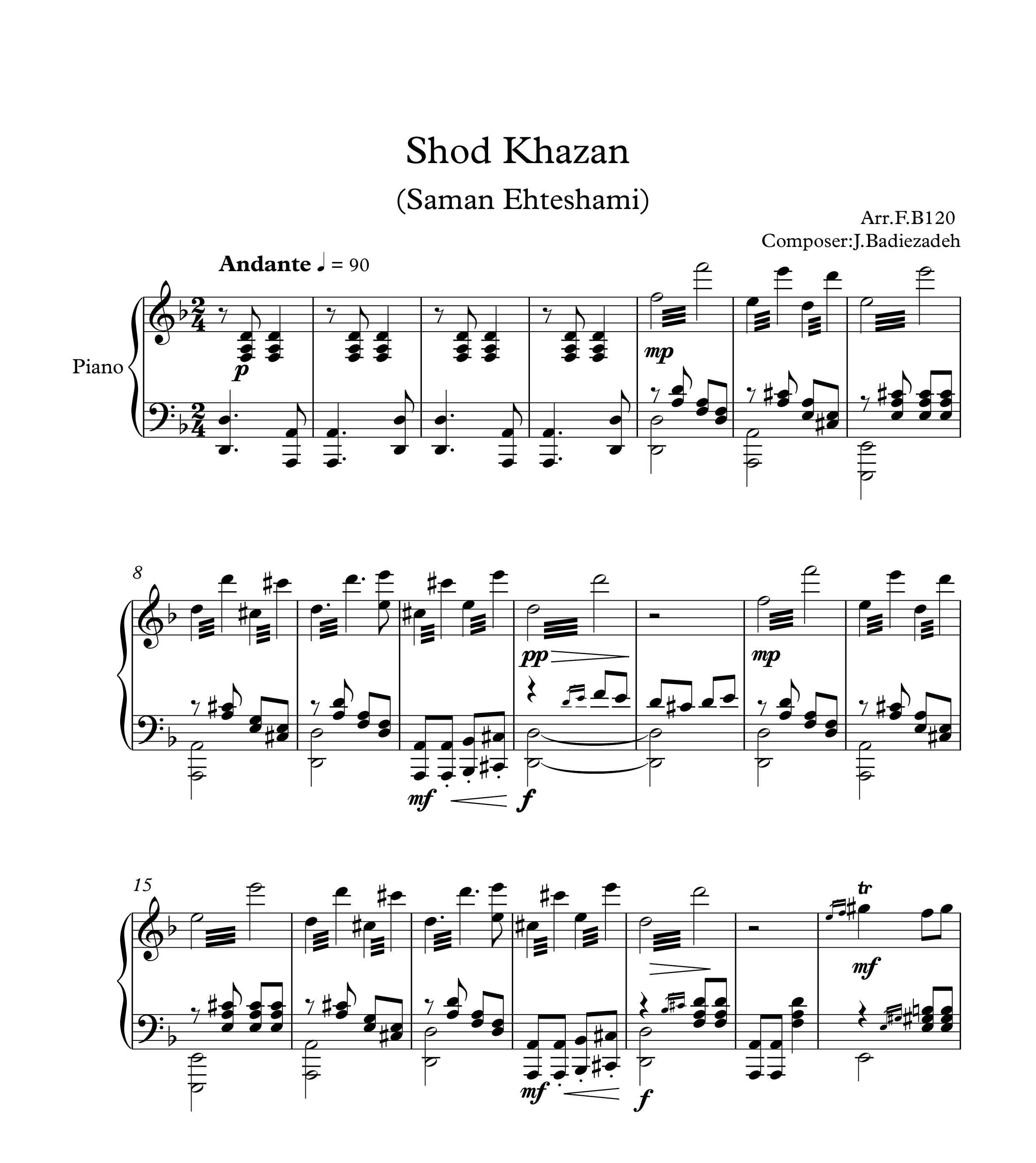 نت پیانوی خزان عشق از سامان احتشامی