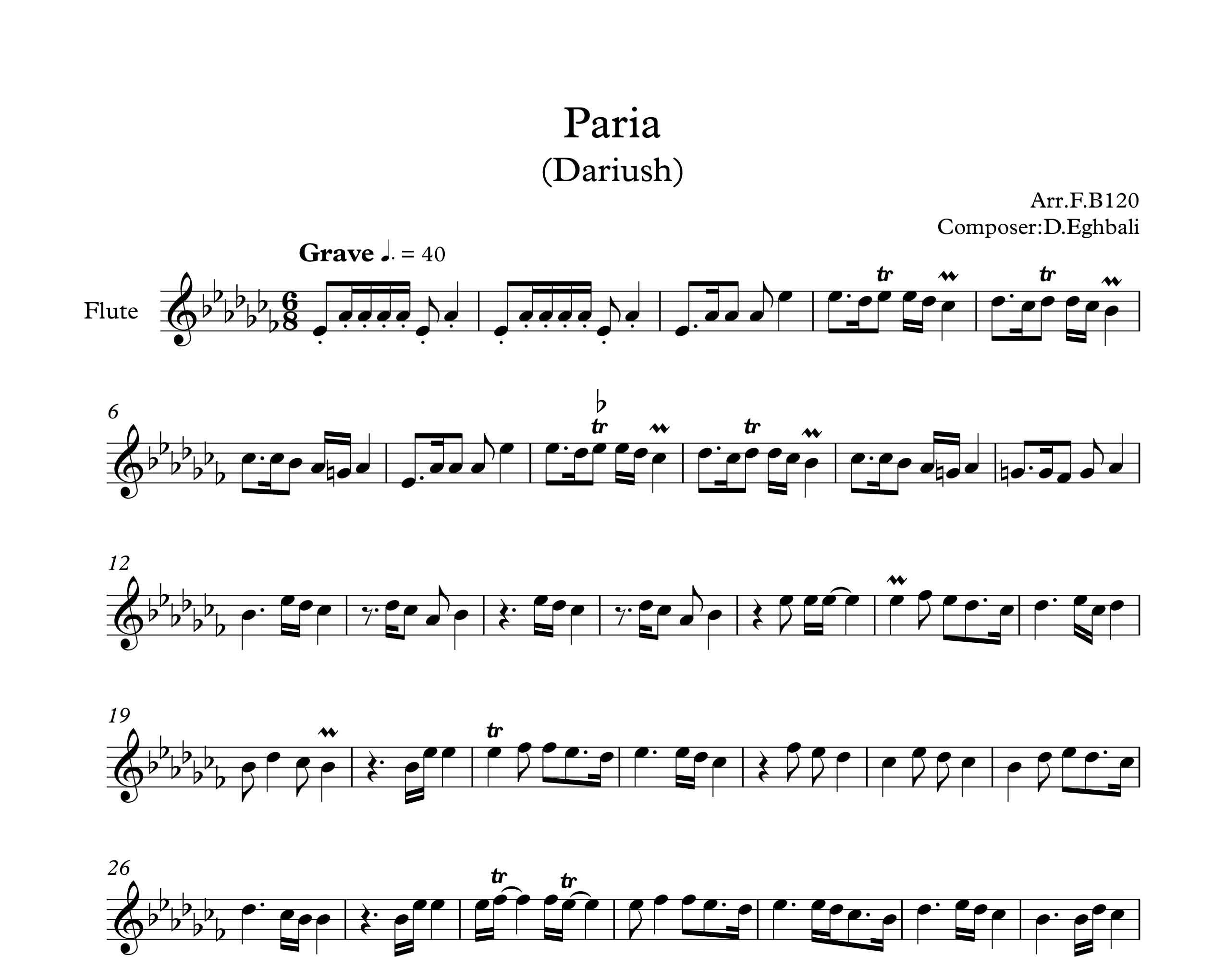 نت آهنگ پریا برای فلوت کلید دارد از داریوش