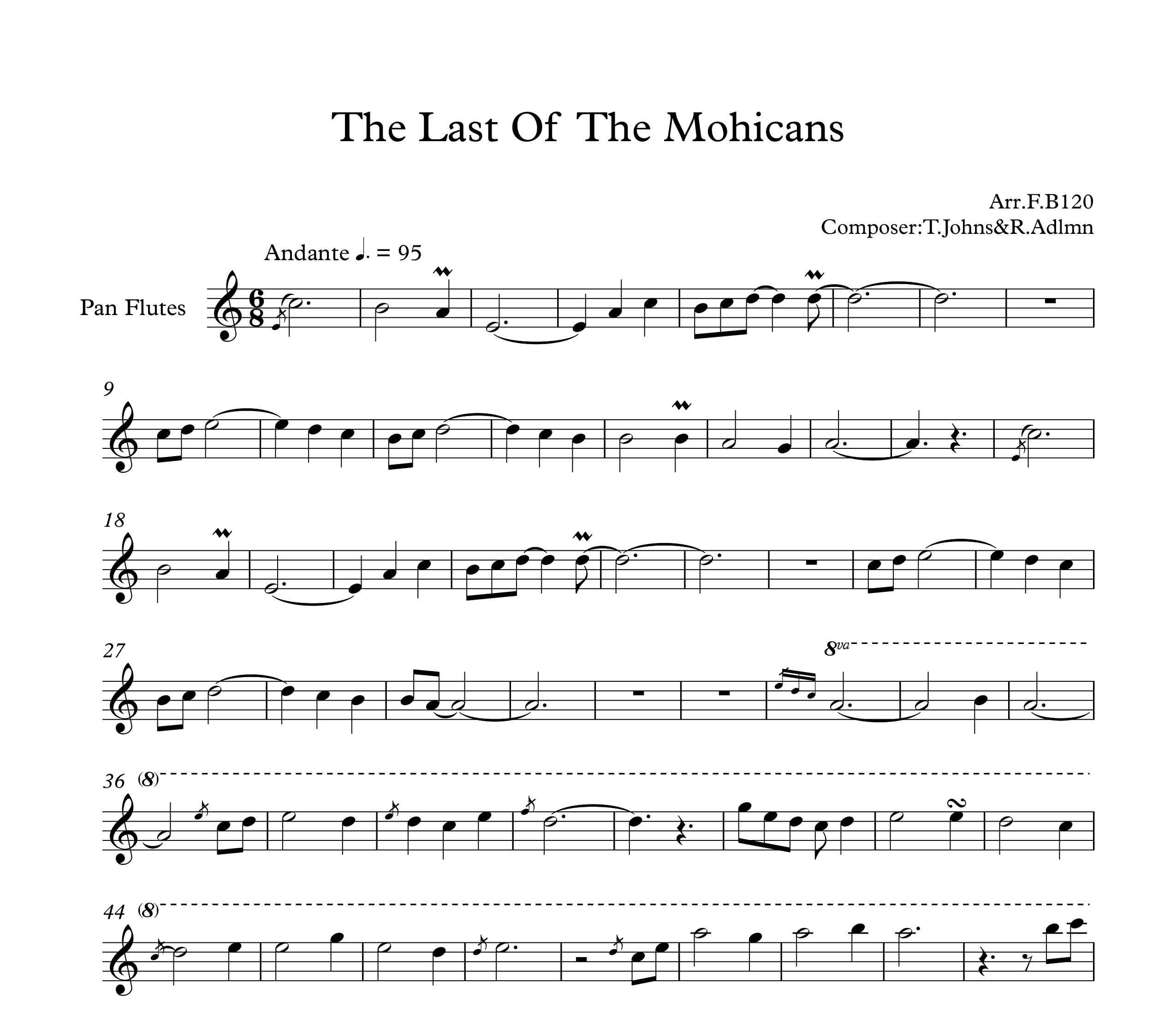 نت آهنگ فیلم آخرین موهیکان the last of  the mohicans برای پن فلوت