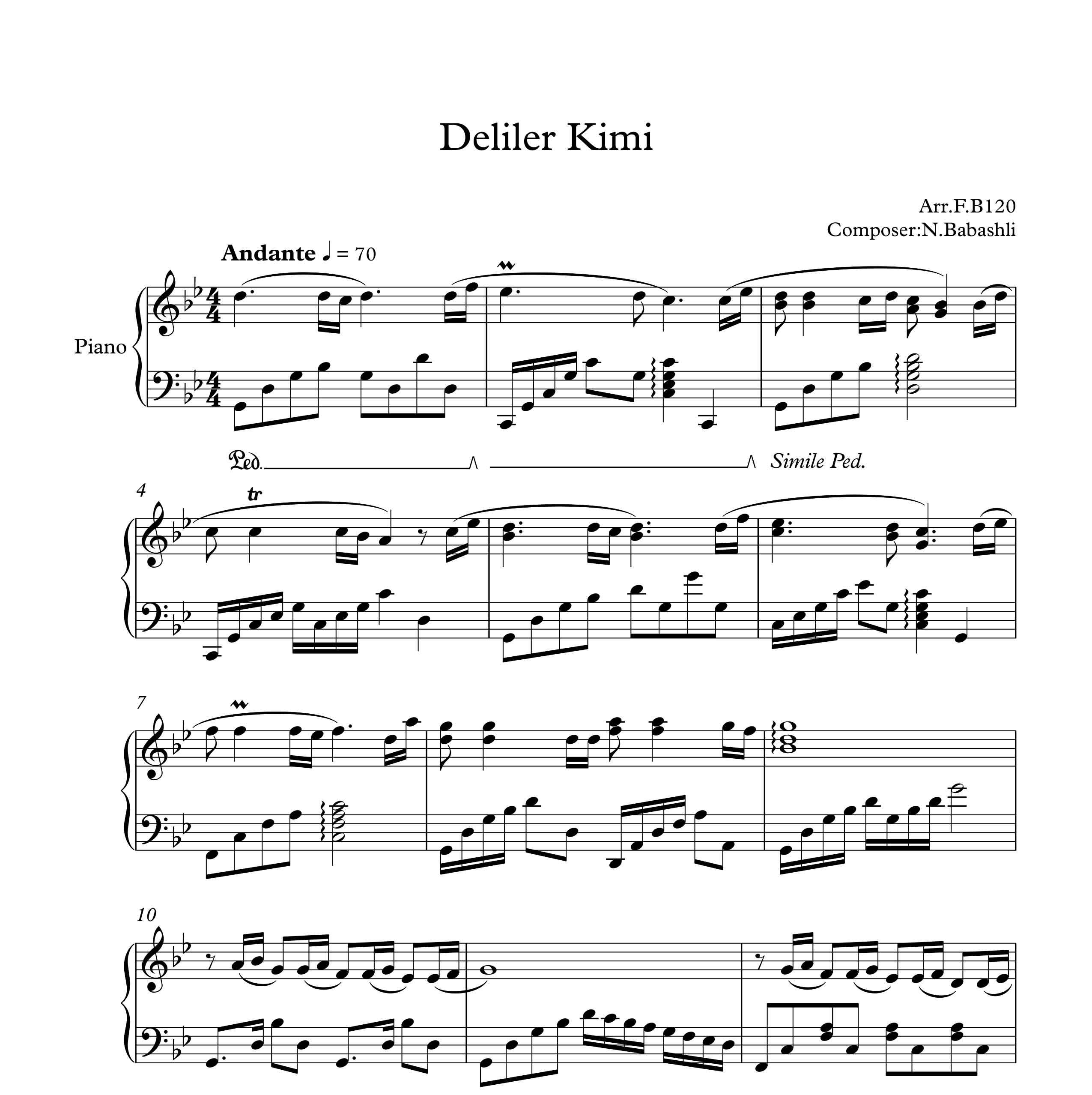 نت آهنگ deliler kimi از nahide babashli برای پیانو