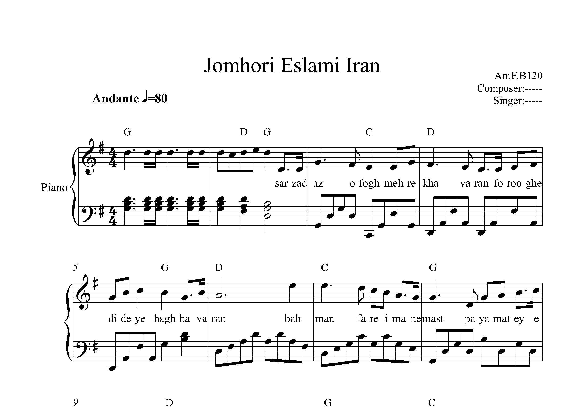 نت پیانو سرود جمهوری اسلامی ایران