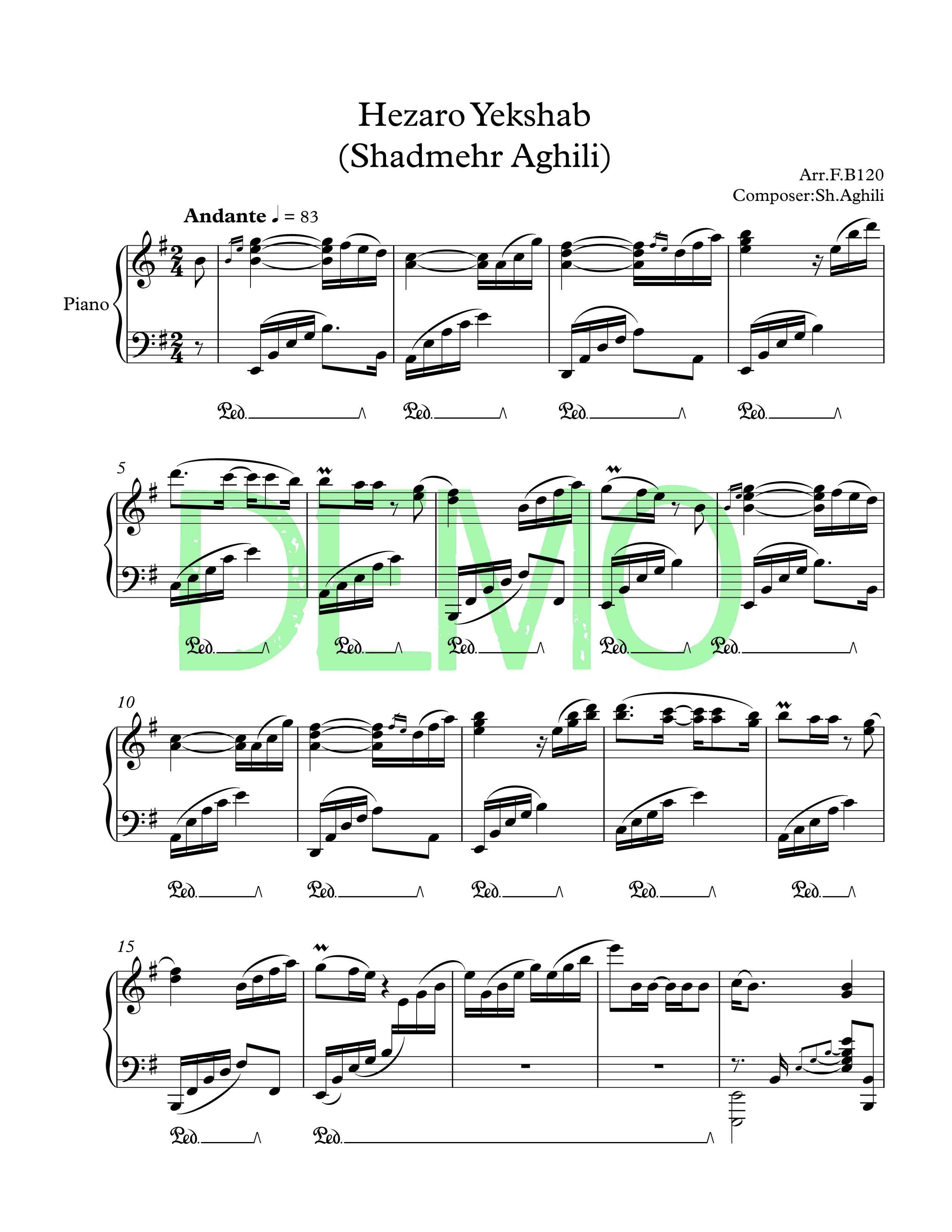 نت پیانوی هزارو یک شب از شادمهر عقیلی