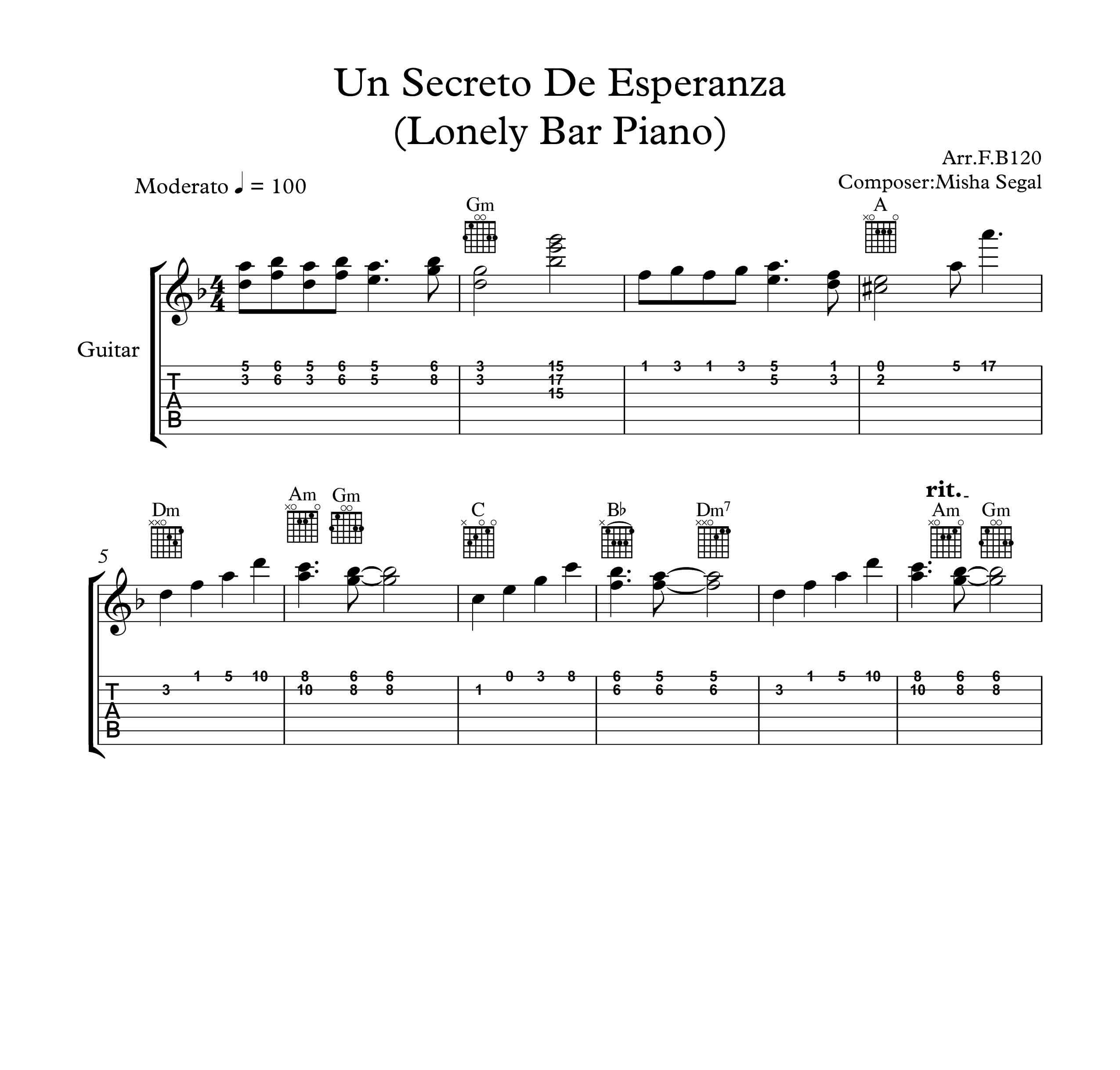 نت و تبلچر آهنگ Un Secreto De Esperanza Lonely Bar Piano  برای گیتار به همراه آکورد
