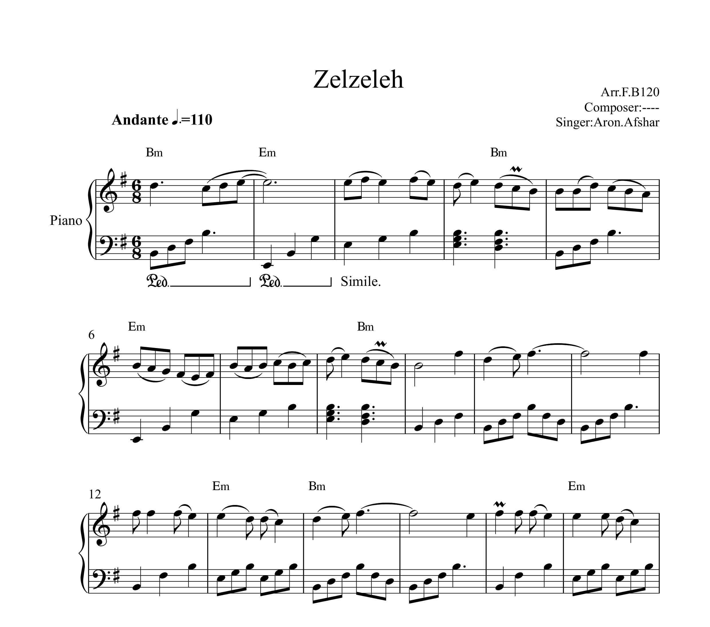 نت پیانو زلزله از آرون افشار به همراه آکورد