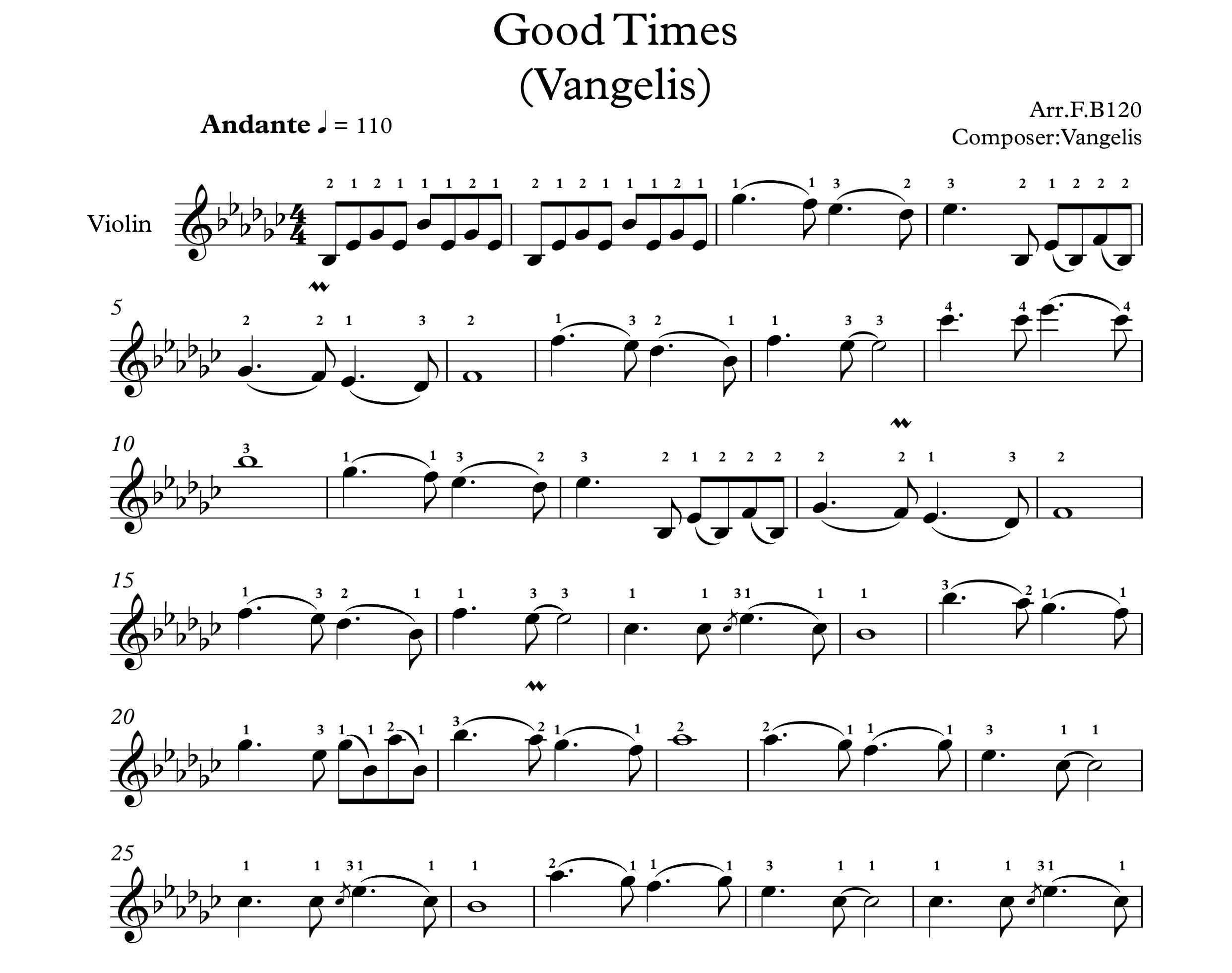 نت ویولن آهنگ بی کلام good times از  وَنجِلیس
