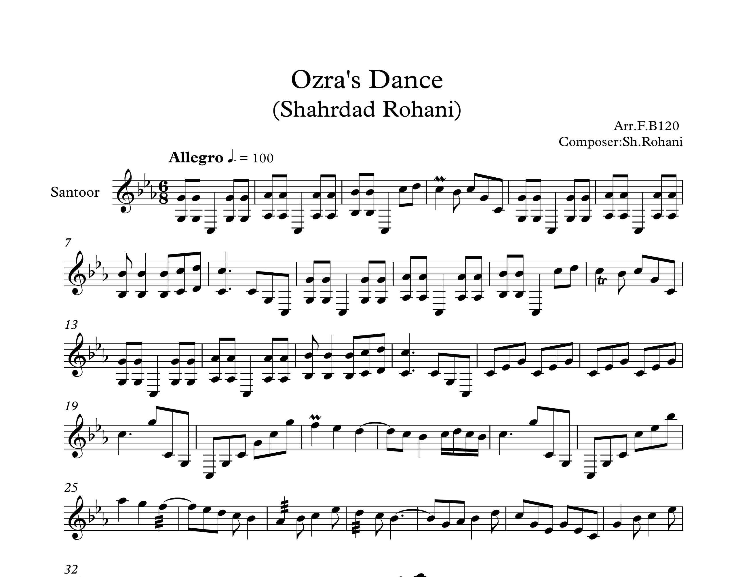 نت سنتور آهنگ رقص عذرا از شهرداد روحانی