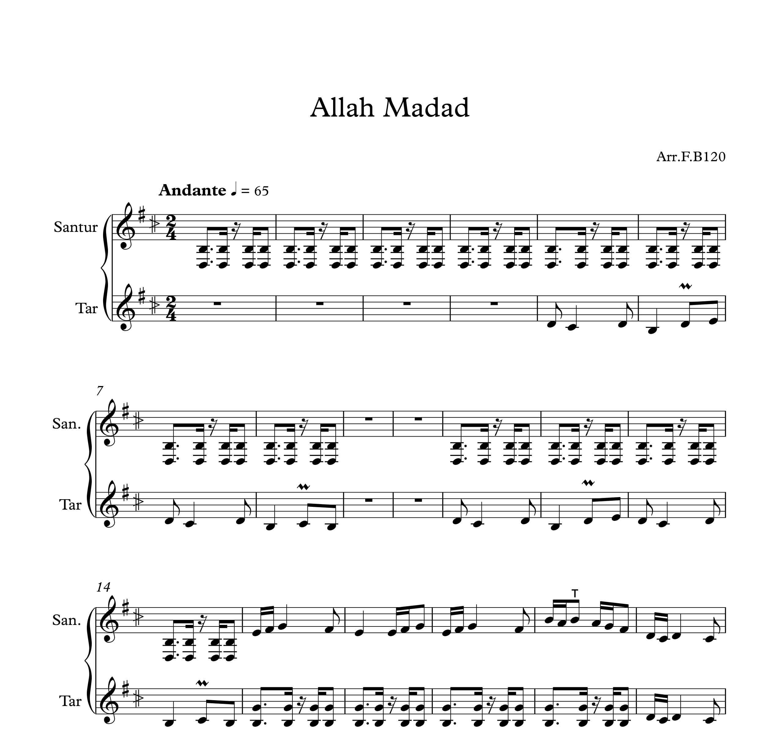 نت آهنگ الله مدد از پیام عزیزی برای همنوازی تار و سنتور