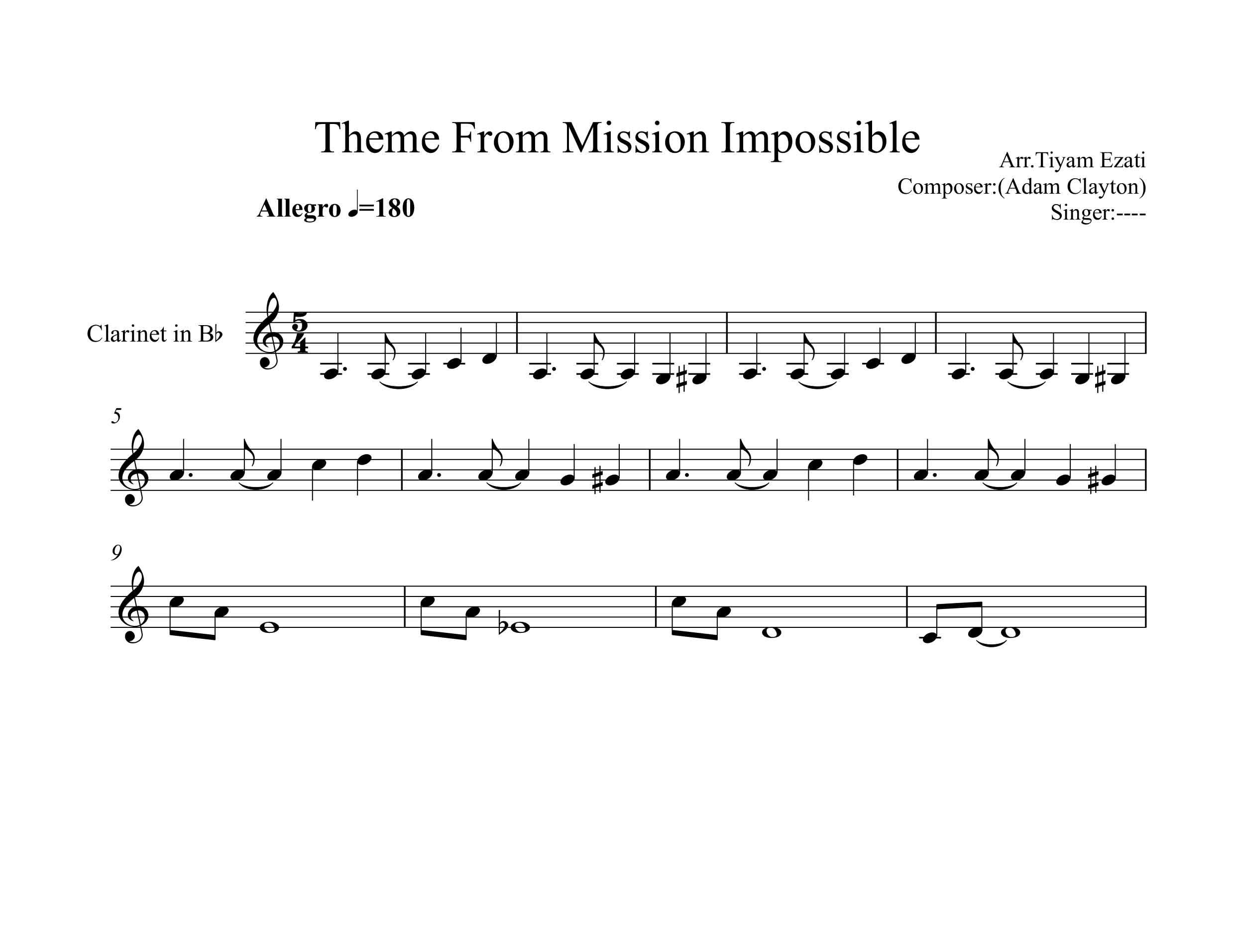 نت کلارینت فیلم ماموریت غیر ممکن Mission Impossible
