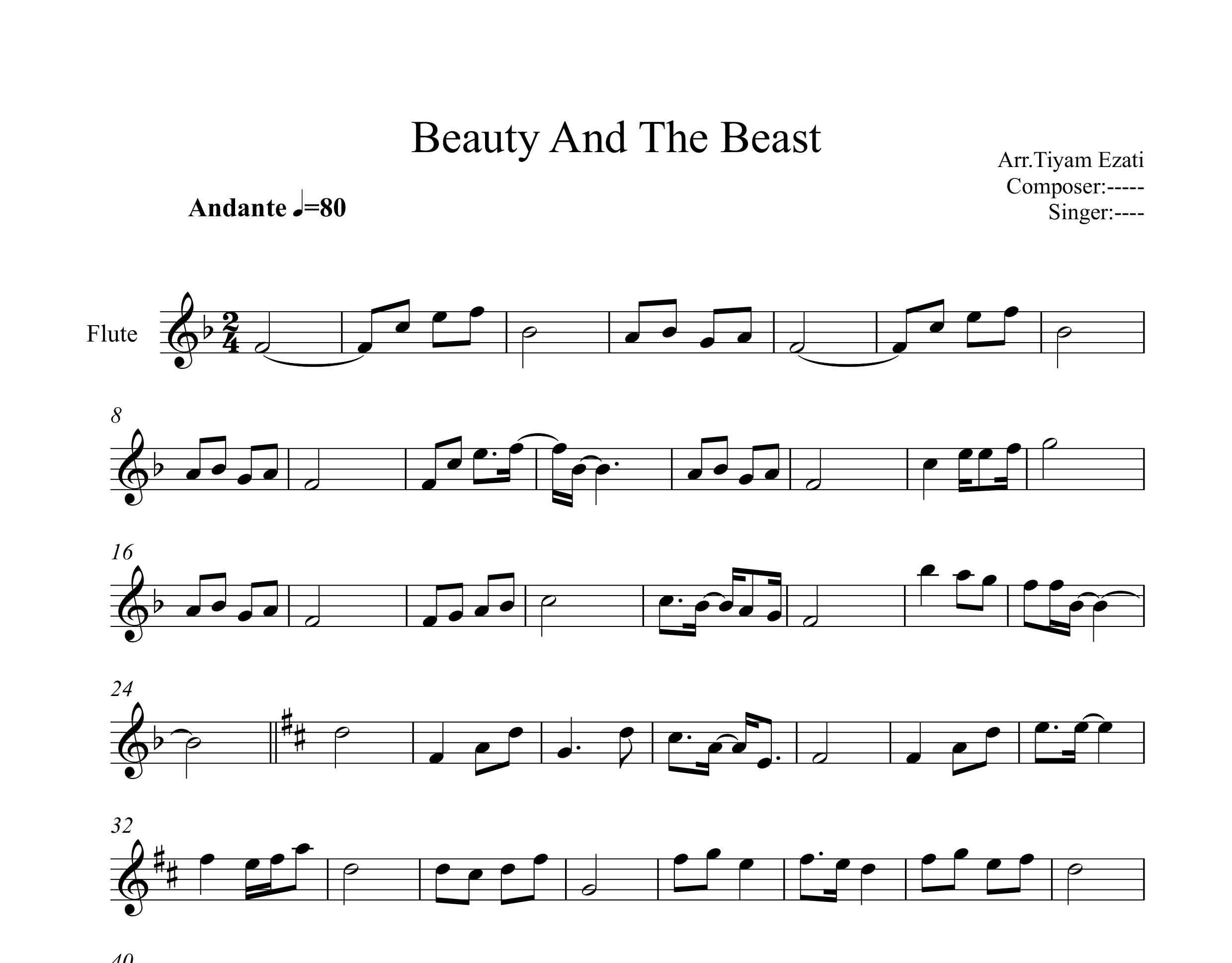 نت فلوت فیلم دیو و دلبر Beauty and the Beast