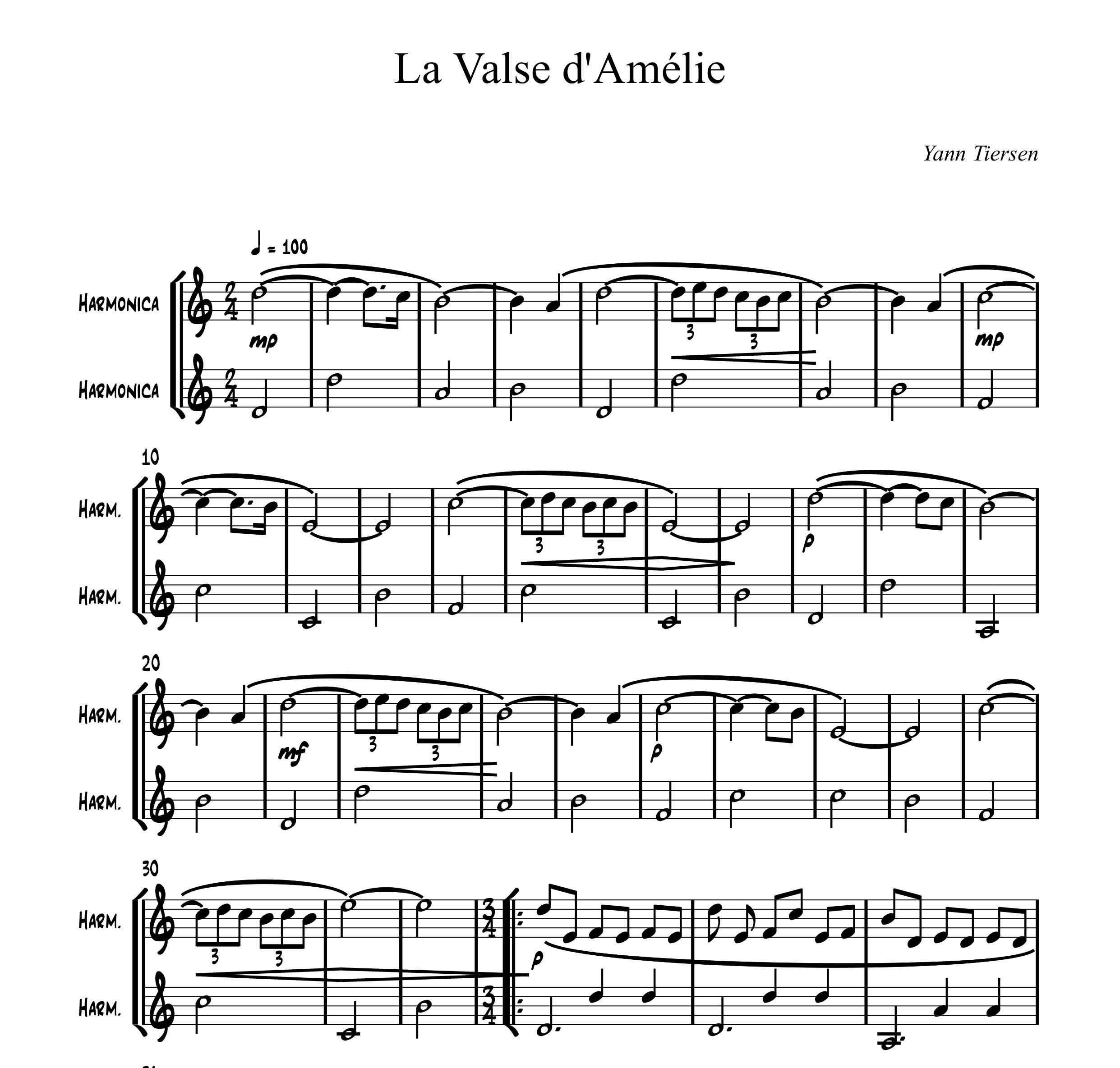 نت آهنگ la valse d Amelie برای دوئت هارمونیکا