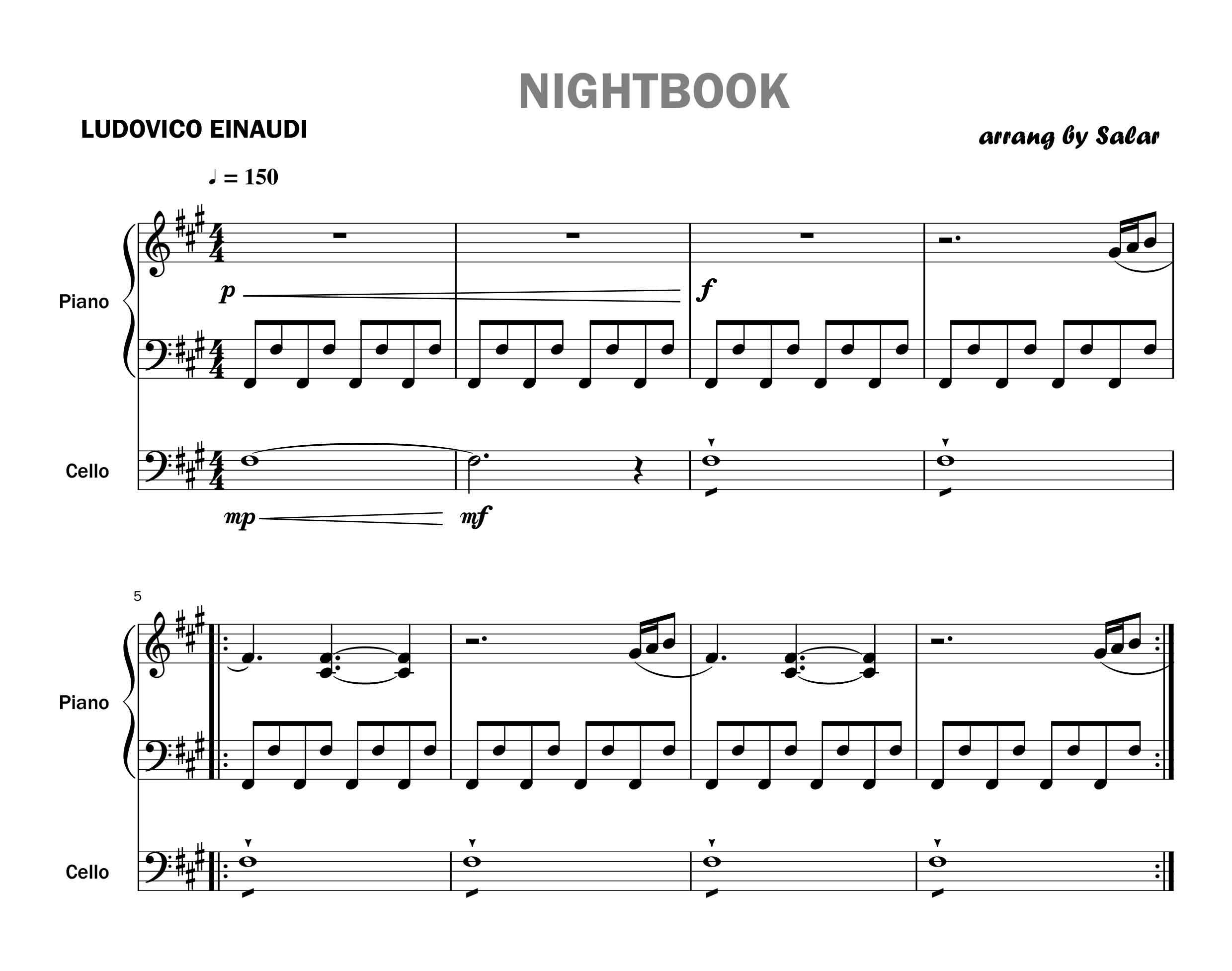 پارتیتور قطعه NightBook برای پیانو  ویولن و ویولن سل