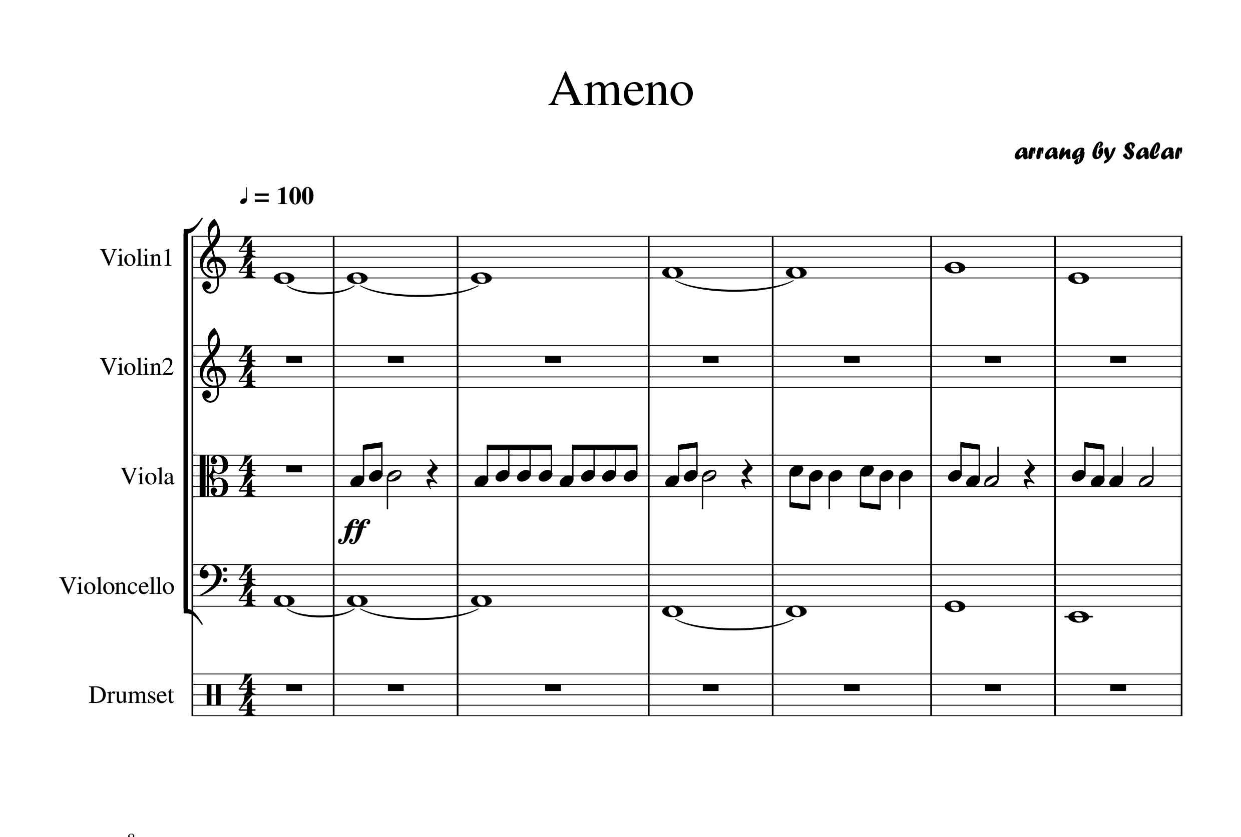 پارتیتور آهنگ (ameno) برای ارکستر کلاسیک