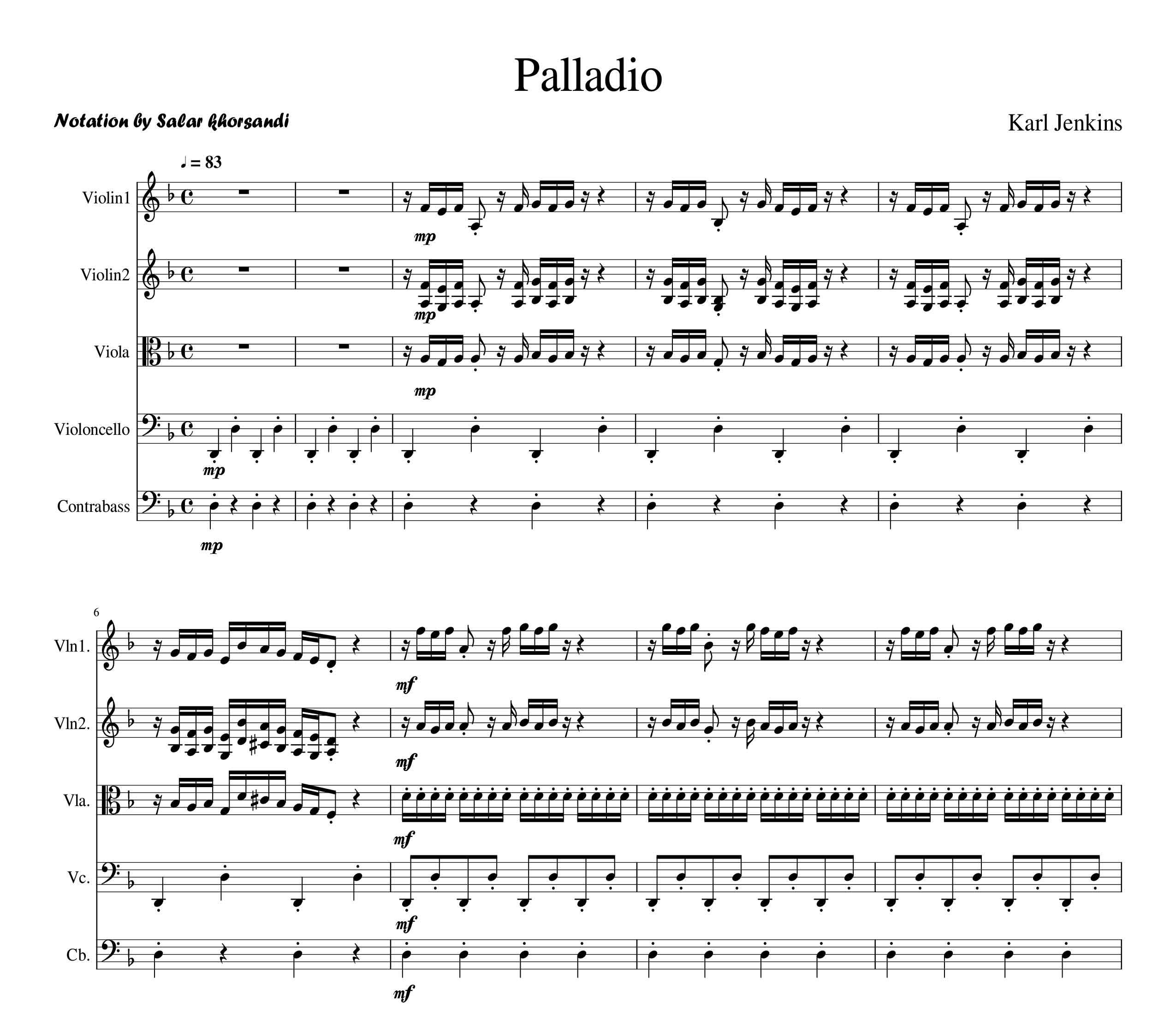 پارتیتور Palladio از Karl Jenkins